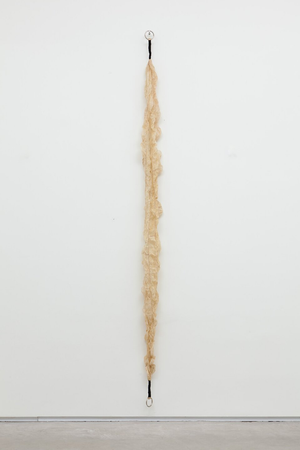 Paloma Bosquê, <em>Rope</em>, 2011/2016, ox gut, wool and metal rings, 207,5 × 9 × 9 cm - Mendes Wood DM