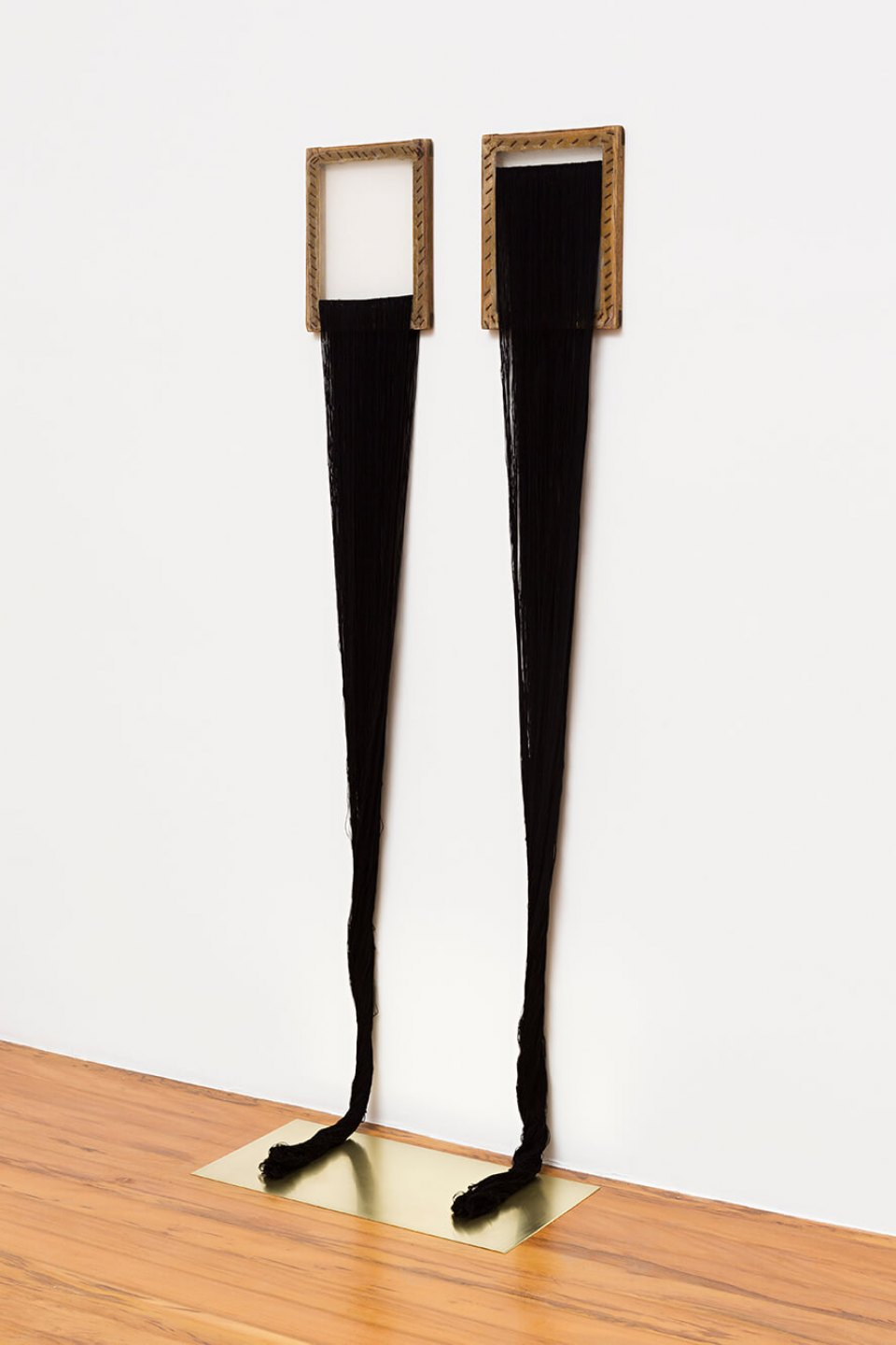Paloma Bosquê,<em> Mirror. The two girls</em>, 2014, lurex threads, canvas and brass plate, 164 × 60 × 35,5 cm - Mendes Wood DM