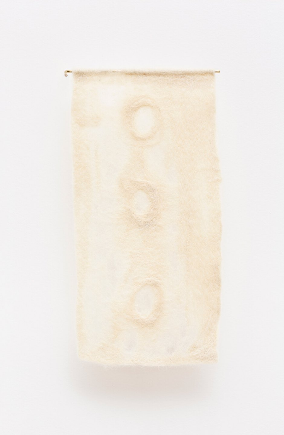 Paloma Bosquê, <em>Reverse</em>, 2015, wool felted by hand, dyed bee wax and brass holder, 36,5 × 17,5 cm - Mendes Wood DM