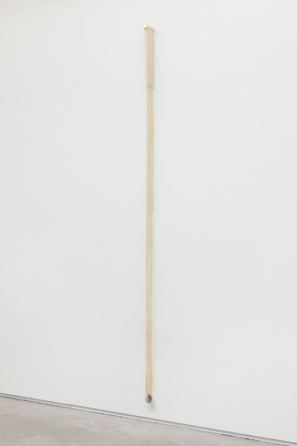 Paloma Bosquê, <em>Plumb</em>, 2016, wool felted by hand, dyed bee wax shaped in egg form and brass rods, 239 × 4,5 × 9 cm - Mendes Wood DM