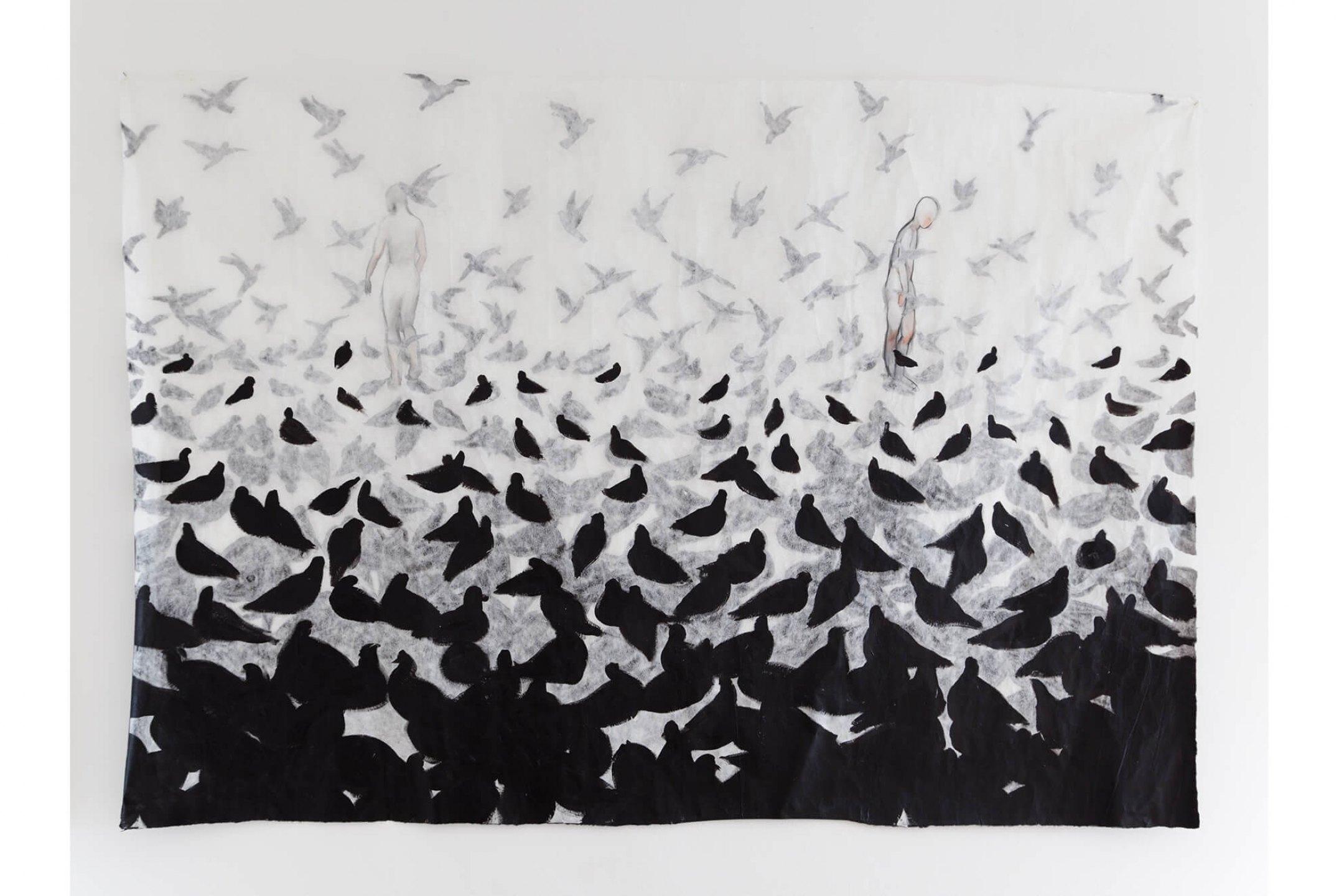 Marina Pererz Simão, <em>Black Birds</em>, 2009, acrylic and colored pencil on paper, 58, 2× 83,8 inches - Mendes Wood DM
