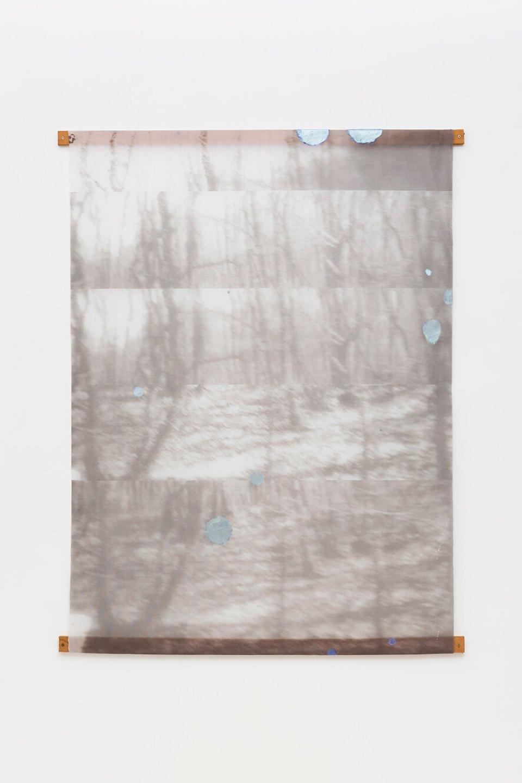 Marina Perez Simão,&nbsp;<em>Untitled,</em>&nbsp;2015, print and iridescent pigment on voile, 174,5 × 135 cm&nbsp; - Mendes Wood DM
