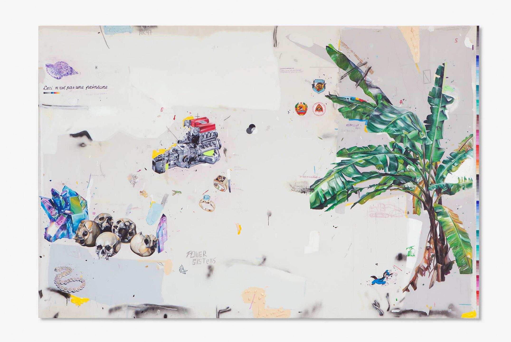 Paulo Nimer Pjota,<em>Ceci N'est pas une Peinture (Isso não é uma Pintura), </em>2012,acrilic, synthetic enamel, pencil and pen on canvas,200 x 301 cm - Mendes Wood DM