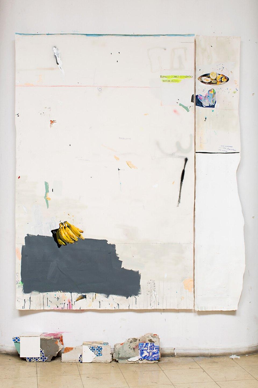 Paulo Nimer Pjota,<em>Bahia e Portugal, </em>2013,acrylic, syntetic enamel, pencil, pen and dirty on canvas,concrete and adobe,2,52 × 0,32 cm (bricks included) - Mendes Wood DM