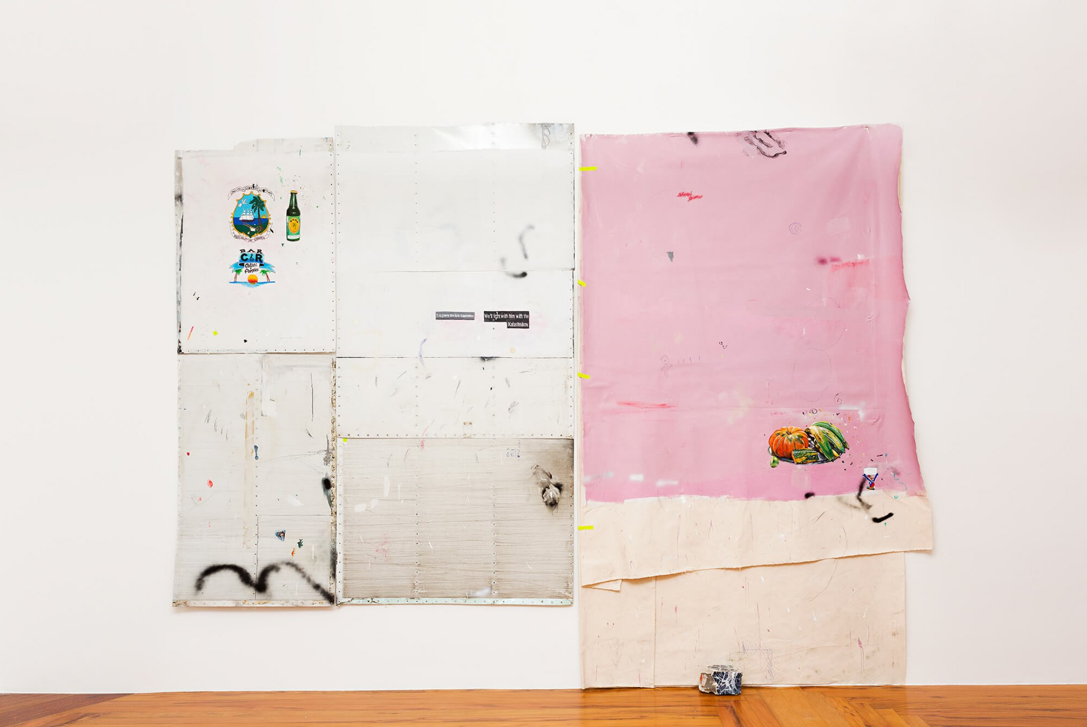 Paulo Nimer Pjota,&nbsp;<em>Offering, landscape and war, 2014,&nbsp;</em>acrylic, pencil, pen, synthetic enamel on aluminium, canvas,&nbsp; on canvas, concrete and brick,&nbsp;285 x 380 cm - Mendes Wood DM