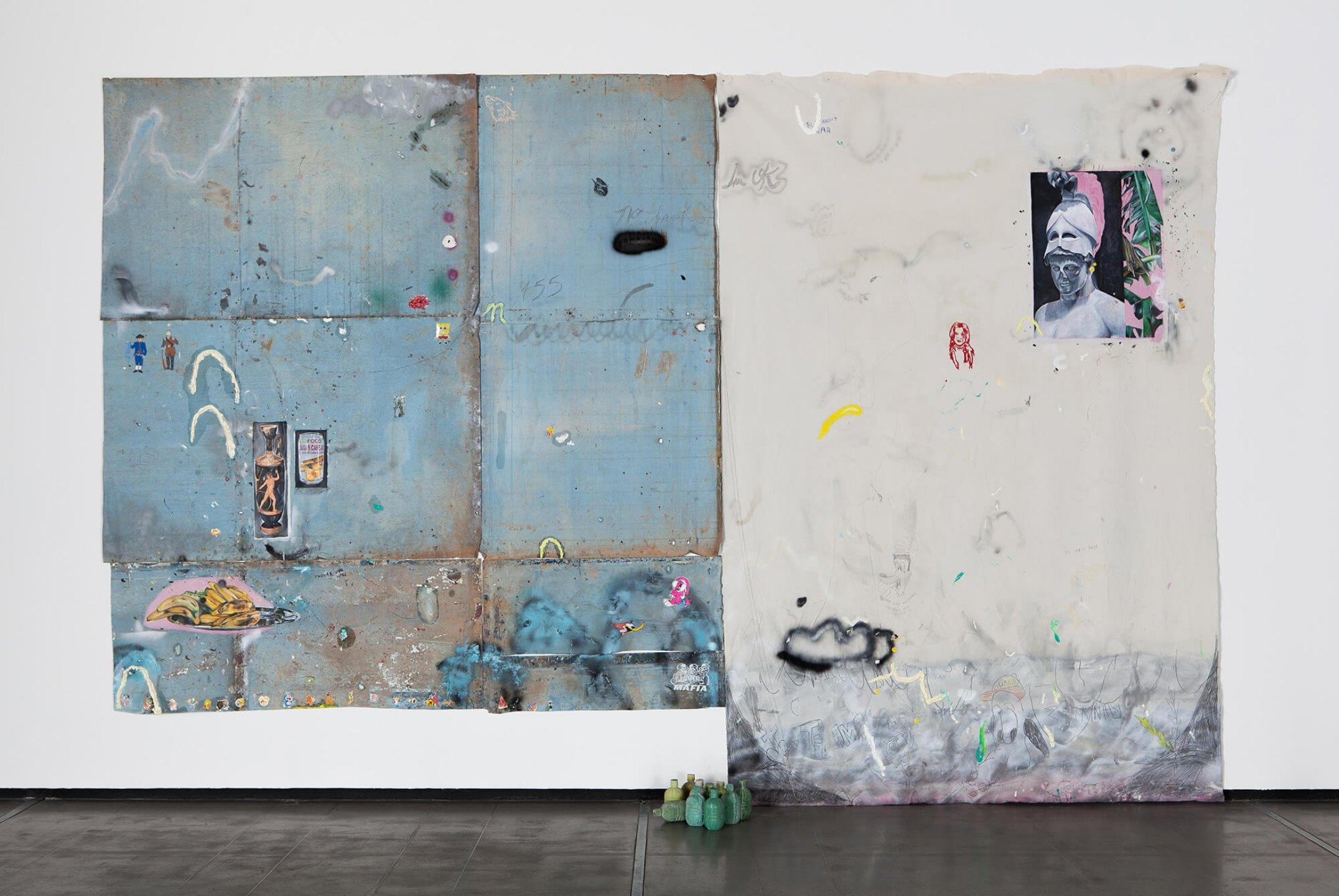 Paulo Nimer Pjota, <em>Entre a filosofia e o crime, part. I</em>, 2015, acrylic, oil, pen, pencil on iron plate, cotton, paper and concrete, 265 × 465 cm - Mendes Wood DM