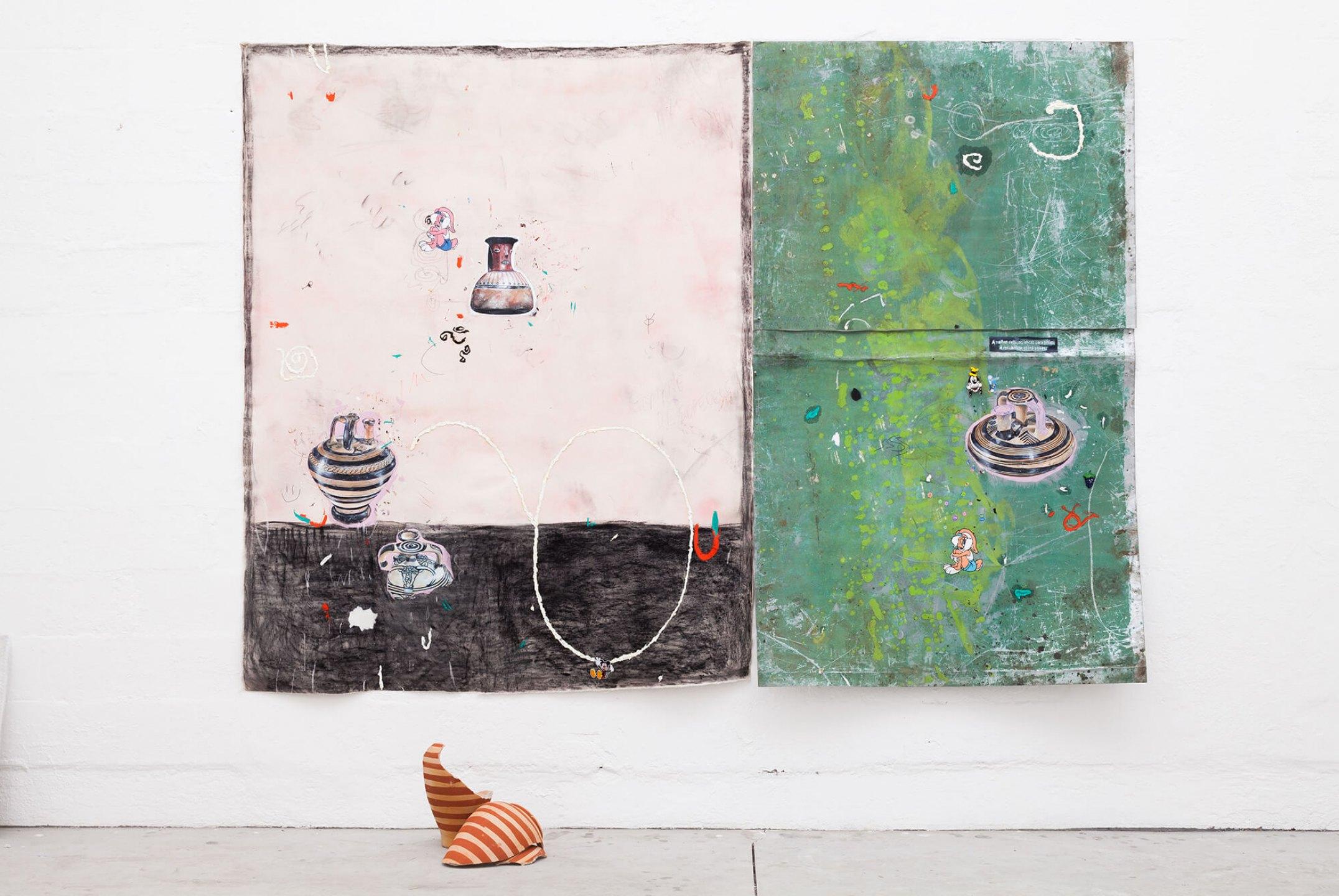 Paulo Nimer Pjota,<em>Dialogue between arrangements, constellations and time, geometric motifs and ancient empires #3,</em>2015, mixed media on canvas and aluminum, ceramic, 200×276 cm - Mendes Wood DM