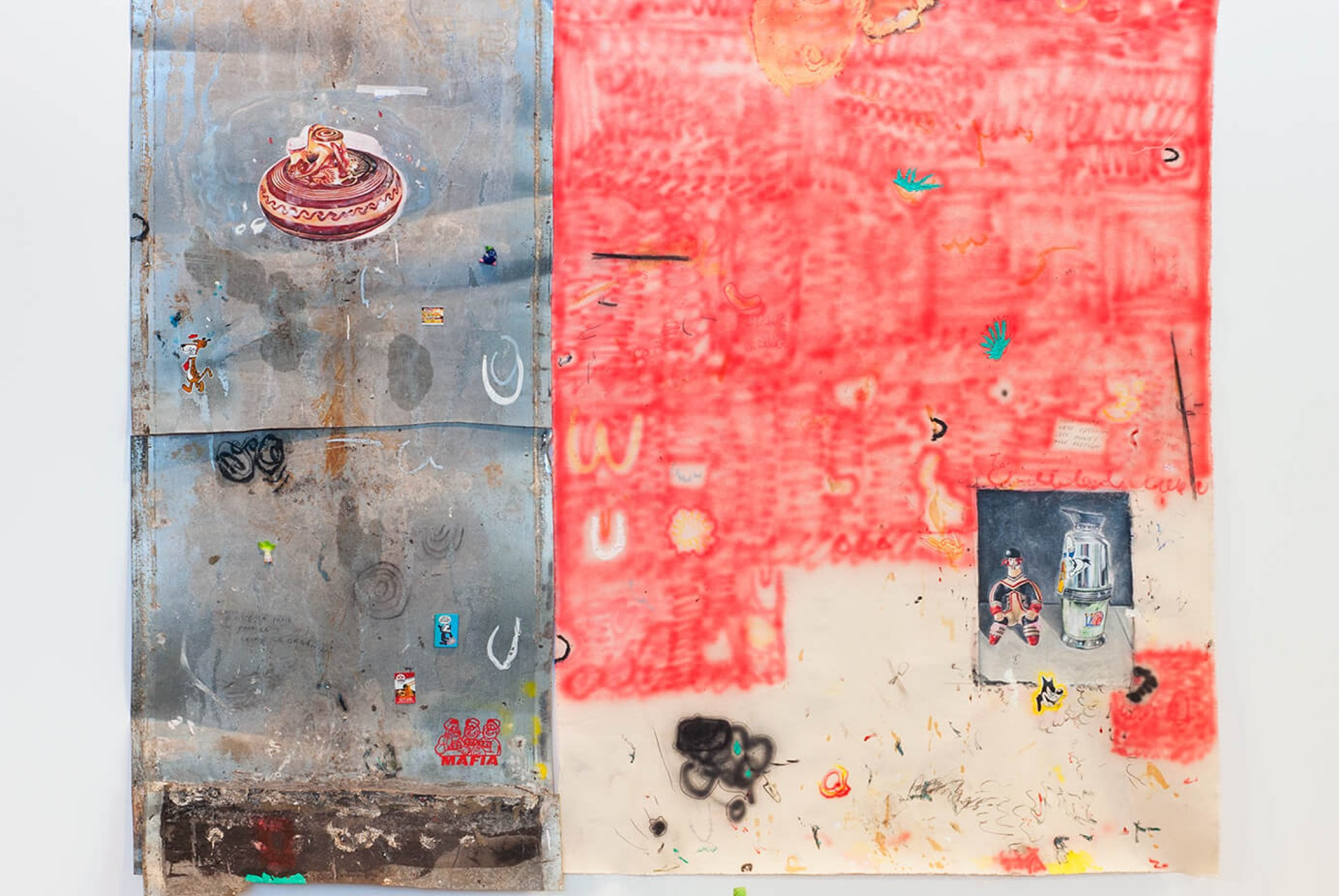 Paulo Nimer Pjota, <em>Dialogue between arrangements, constellations and time, geometric motifs and chromotherapy #2</em>, 2015, mixed media on canvas and aluminum, 216 × 257 cm - Mendes Wood DM