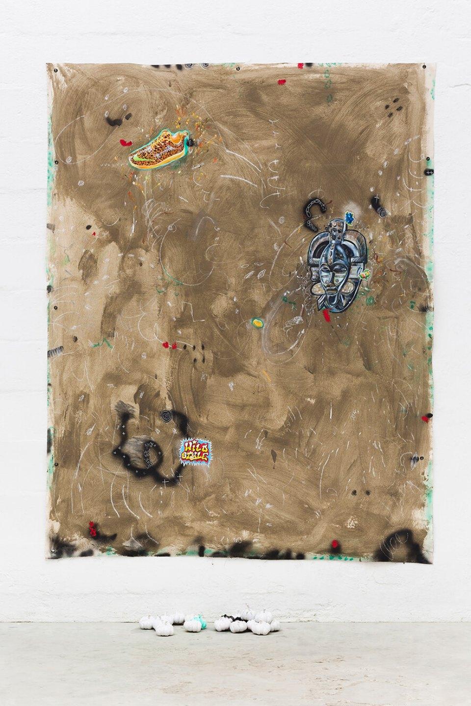 Paulo Nimer Pjota,<em>Safari</em>, 2016, cement, acrylic, pencil, pen, synthetic enamel on canvas and 19 resin objects, 156 × 210 cm - Mendes Wood DM