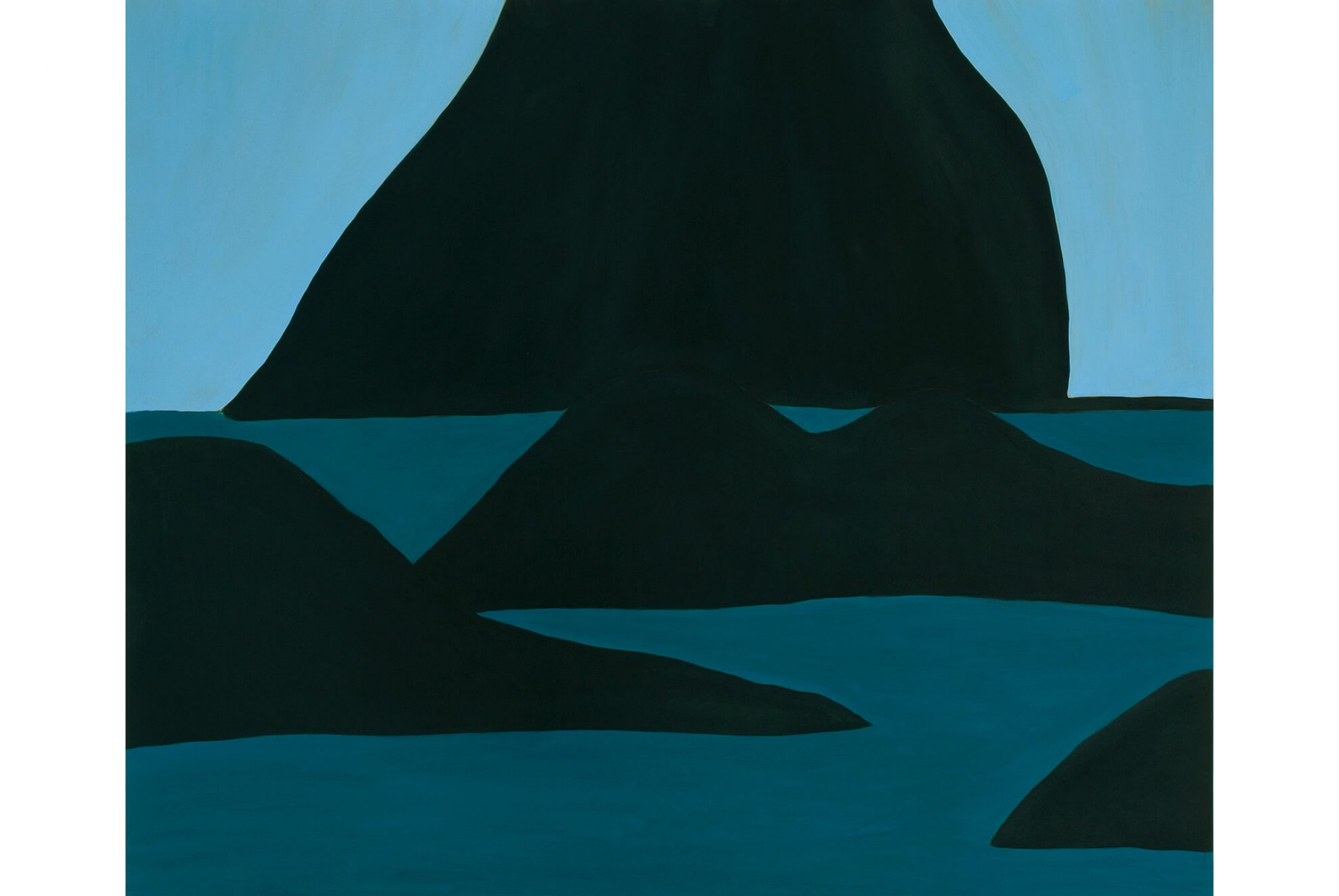 Patricia Leite, <em>Noronha com pedras</em>, 2006, oil on wood, 160 × 190 cm <br><br> - Mendes Wood DM