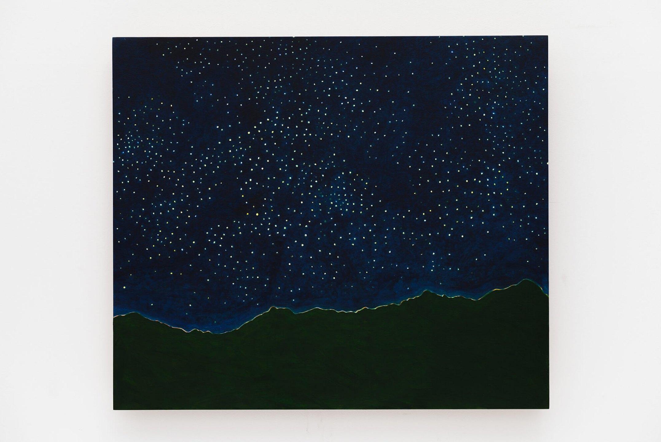 Patricia Leite, <em>Banho de estrelas</em>, 2015, oil on wood, 70×80 cm - Mendes Wood DM
