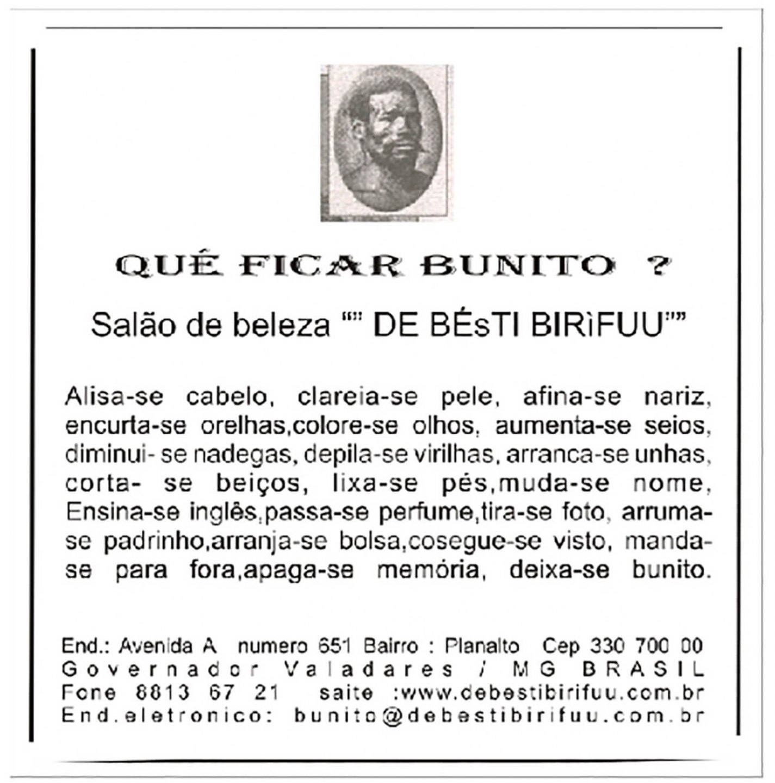 Paulo Nazareth, <em>Qué Ficar Bunito ? - Pamphlet</em>, 2005,&nbsp;photo printing on cotton paper  - Mendes Wood DM