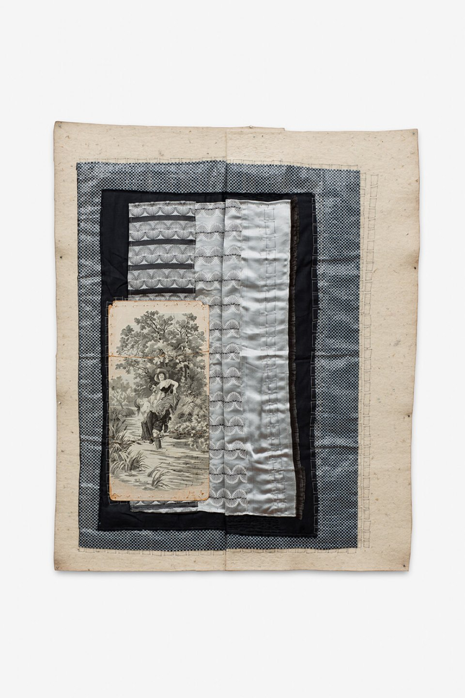 f. marquespeteado, <em>São Cristovão à Paisana,</em> 2013, machine and hand embroidered textile collage which includes a jacquard, dyed wools and different PVCs, 79×64 cm - Mendes Wood DM