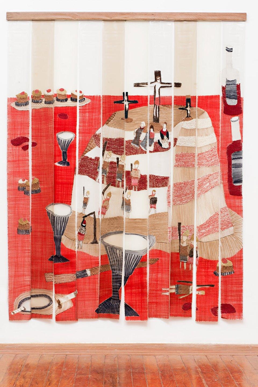 f. marquespeteado,<em>Bolo de Sorvete Napolitano com Calvário</em>, 2006, PVC fringe hand embroidered and sewing machine forming a curtain, 2,22 × 180 m - Mendes Wood DM