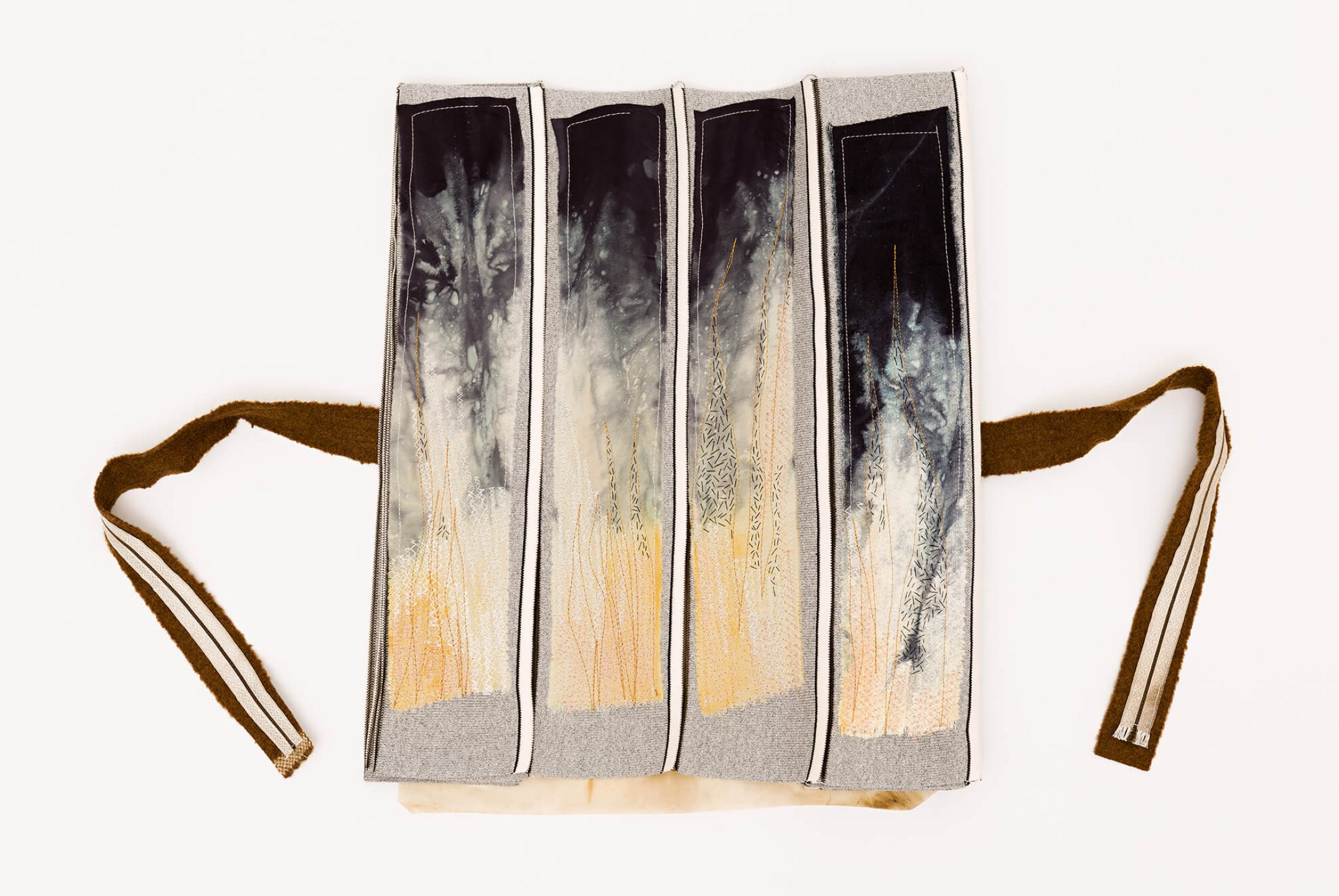f.marquespeteado,<em>Jonas 01, from Livro de Escrituras series</em>, 2013, textile collage on industrial fabric for blouse fist and scroll with and wool ribbon and trimmings, 200×39 cm - Mendes Wood DM