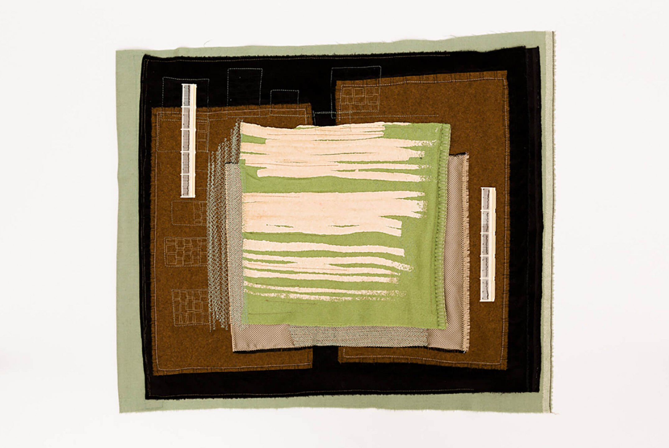 f.marquespenteado,<em>Passeios de Sean</em>, 2011, textile collage, printing on synthetic material, embroidery by hand and machine and plastic toy pieces, 64 × 56 cm - Mendes Wood DM