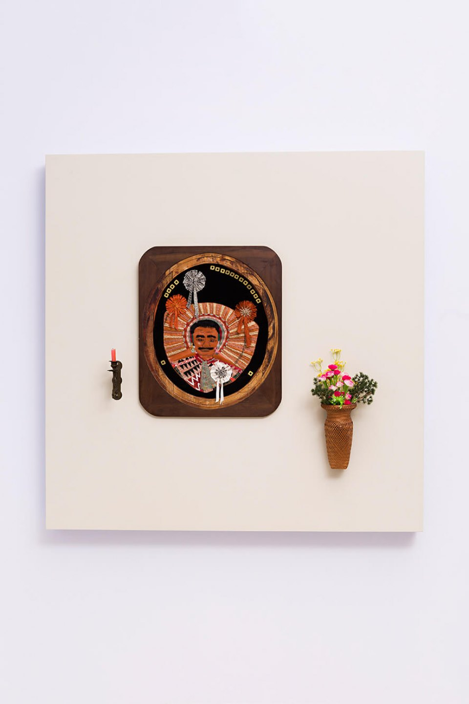 f.marquespenteado,<em>O altar da casa,</em>2012, PVC hand and machine embroidery in wood frame, wicker basket, artificial flowers hand embroidery and support for candle, 90 × 94 × 19 cm - Mendes Wood DM
