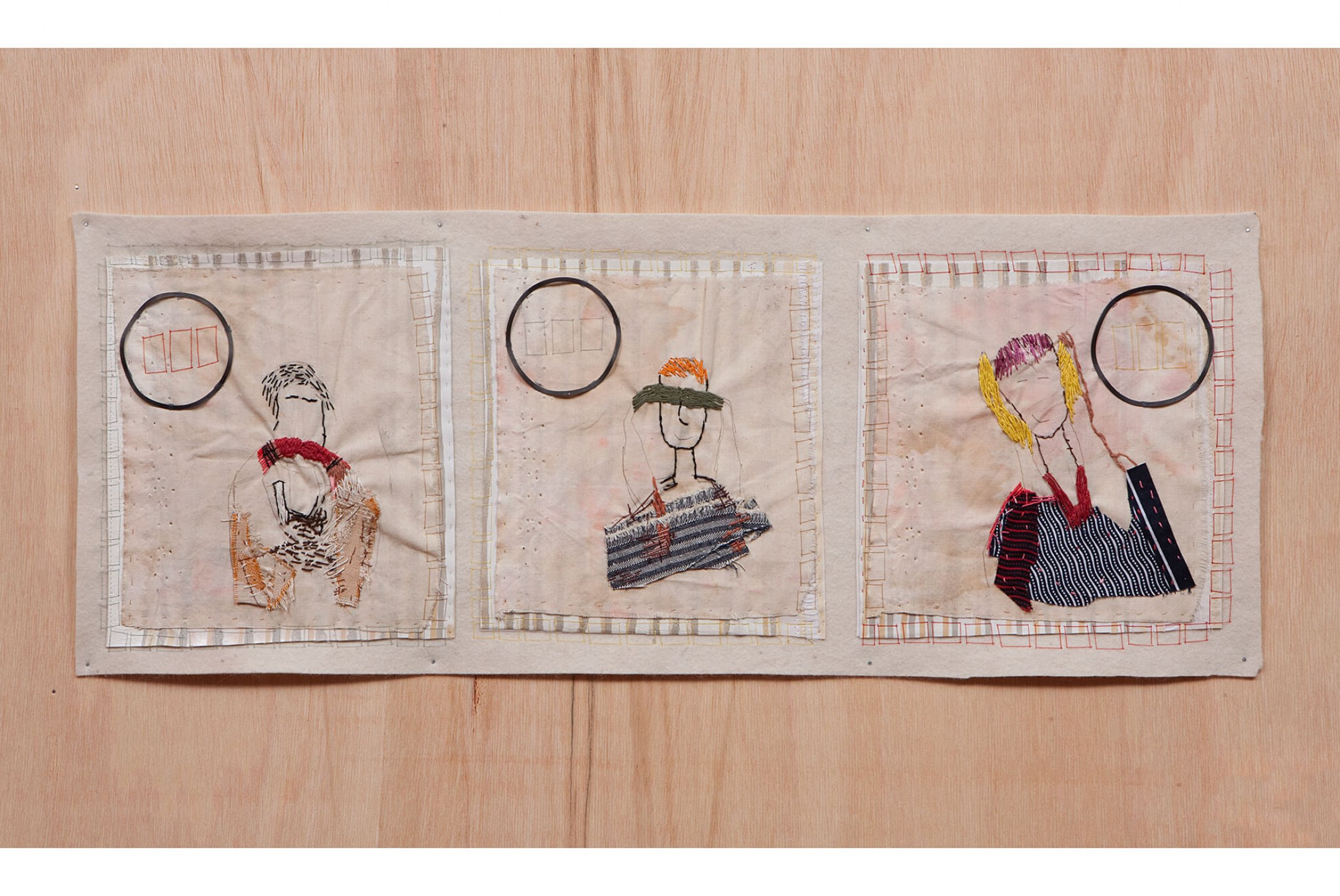 f.marquespeteado,<em>As Chaves do Reino,</em> 2012, applications on cotton and PVC's, industrial iron pieces, hand embroidery on industrial felt, 30 × 79 cm - Mendes Wood DM