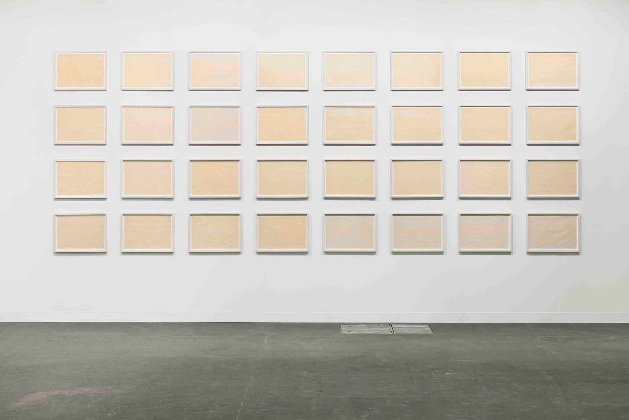 Runo Lagomarsino,<em>Trans Atlantic Thirty-two</em>,2011/2010, sun drawings and newsprint paper, 33 × 47, 5 cm (each) - Mendes Wood DM