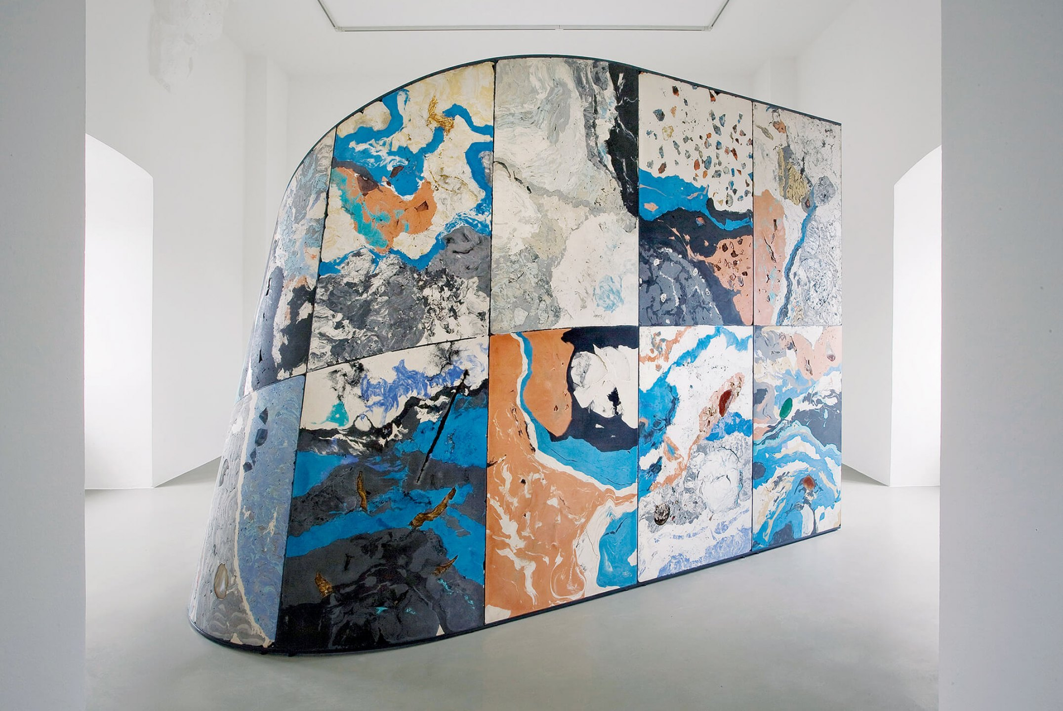 Mariana Castillo Deball,<em>Uncomfortable Objects</em>, 2012, dOCUMENTA (13), plaster, pigments, stones, shells, masks, fabric, glass, wood, clay, and diverse objects mounted on a steel frame, 600 × 400 × 300 cm<br> - Mendes Wood DM