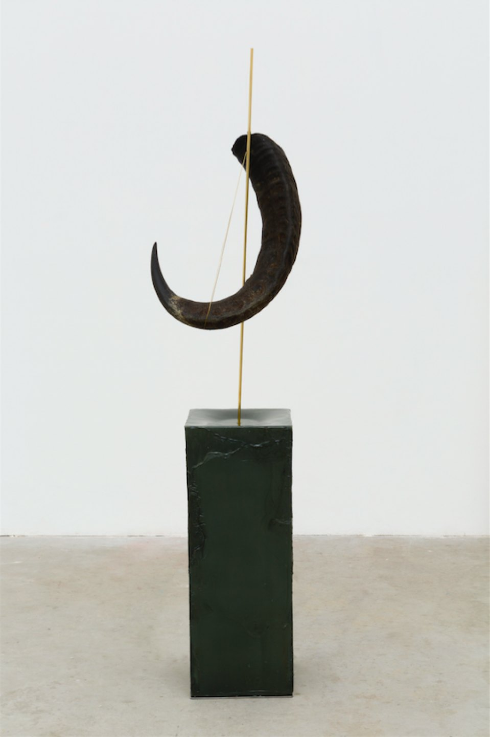 Paloma Bosquê, <em>Curva amparada (chifre),</em> 2017, block of beeswax with pitch, brass rod and horn of buffalo, 141,5 × 32 × 32 cm - Mendes Wood DM