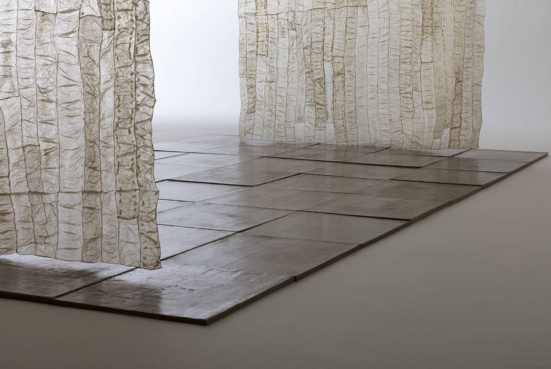 Paloma Bosquê, <em>Field</em>, 2012-2017, 40 beeswax plates, 2 panels of dried ox tripe and brass rods, 500 × 512 × 270 cm - Mendes Wood DM