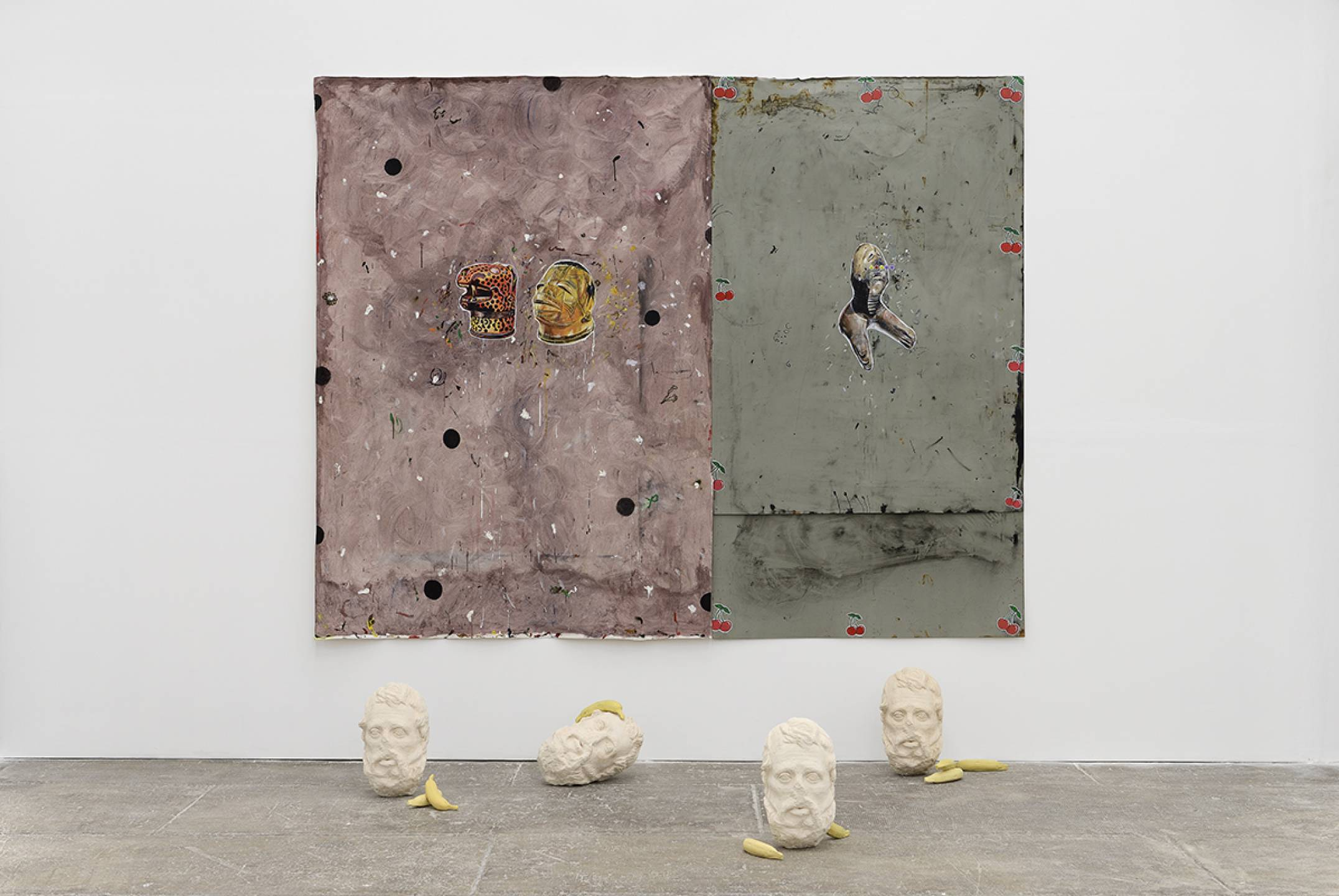 Paulo Nimer Pjota, <em>Savage and Sweety,</em> 2017, acrylic, pencil, pen, synthetic enamel&nbsp;on canvas and iron plate, 4 resin and plaster cast sculptures and 8 silicone pieces, 215 × 255 cm - Mendes Wood DM