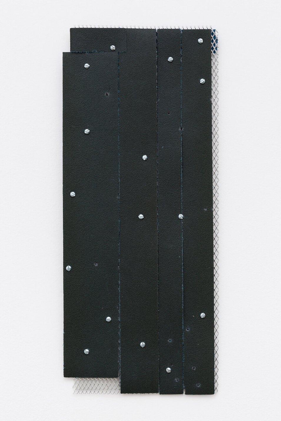 Alessandro Carano,<em>untitled</em>,2017,collage: sandpaper, grid of aluminum and screw, 50× 20 cm - Mendes Wood DM