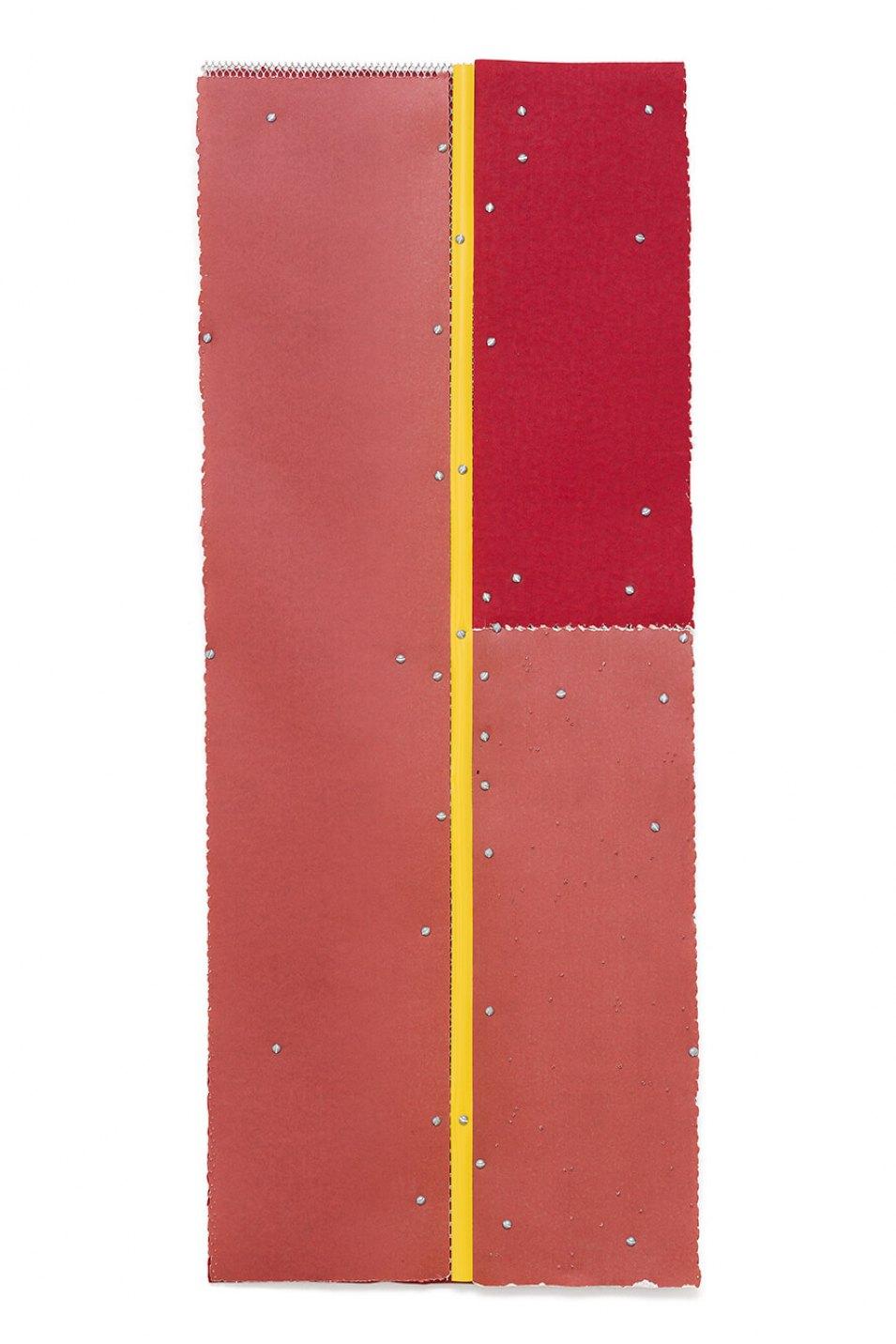 Alessandro Carano,<em>Chronodrama</em>,2017,collage: sandpaper, grid of aluminum, measuring tapeand screw, 100 × 40 cm - Mendes Wood DM