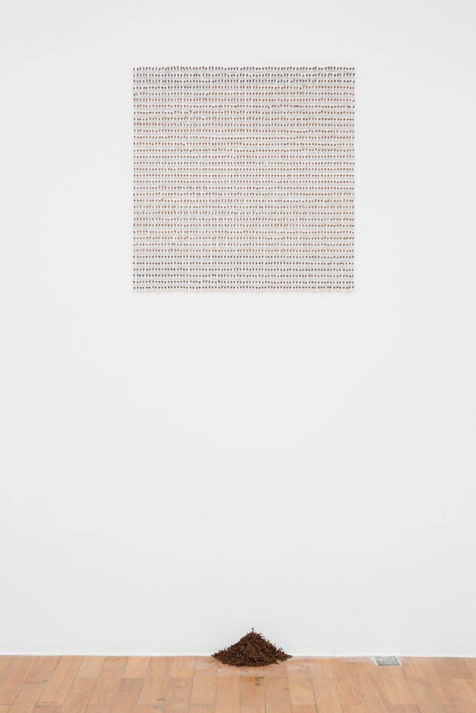 Antônio Obá, <em>Pregação</em>, 2015, rusty nails, 70 × 70 cm - Mendes Wood DM