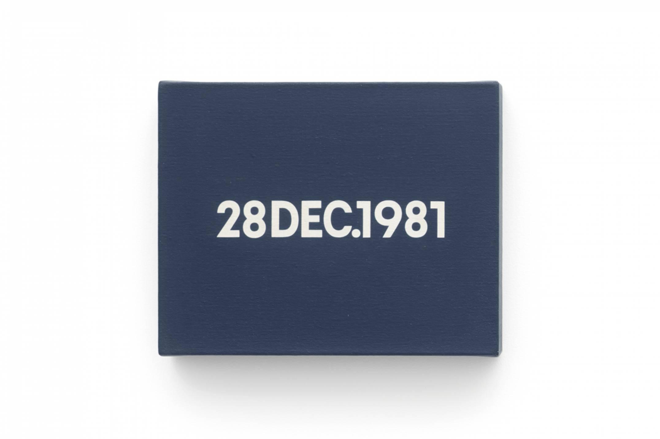 On Kawara, <em>28 DEC.</em>, 1981, liquitex on canvas, 20,6 × 25,4 cm - Mendes Wood DM