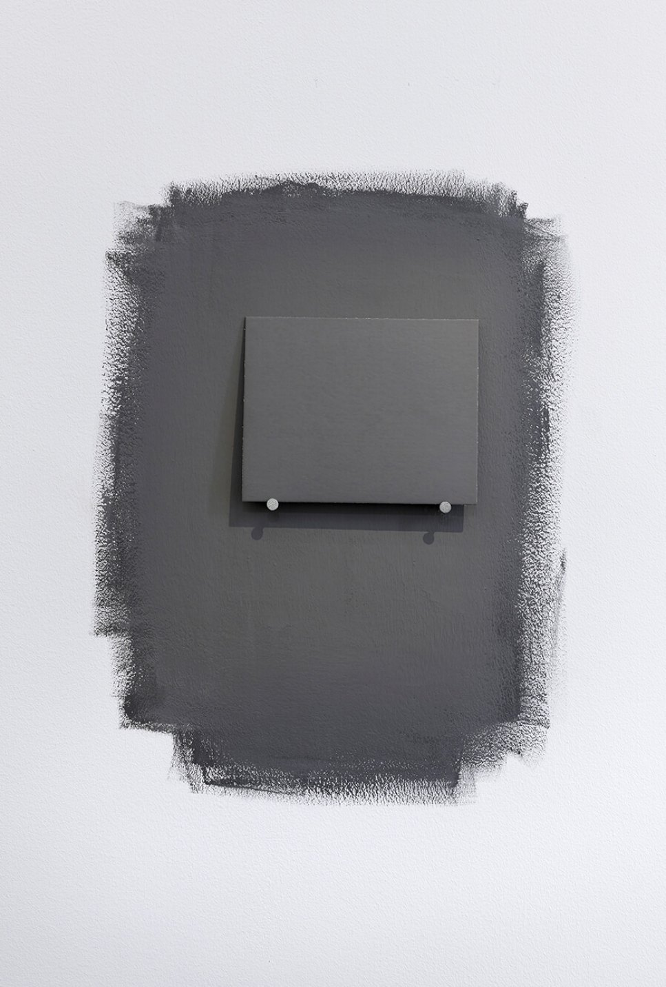 Joëlle Tuerlinckx, <em>Titre-salle 'gris neutral Kodak'</em>, 2005/2012, pigment dispersion, clous, carton 'gris neutral Kodak', éclairage variable (naturel ou artificiel), dimensions variable - Mendes Wood DM