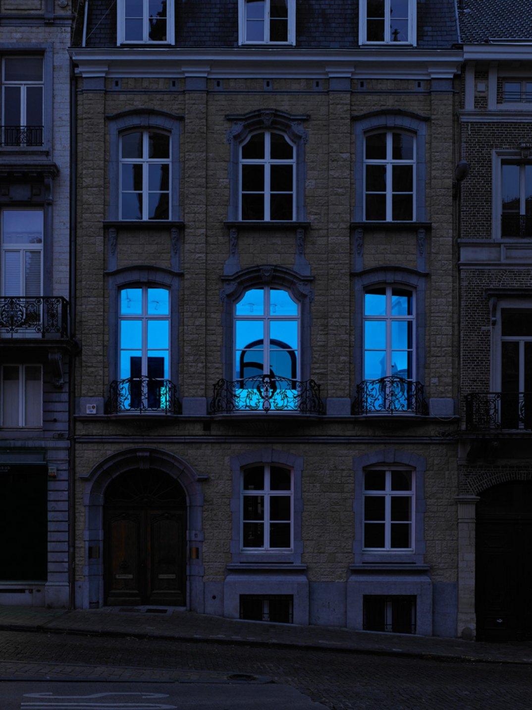 Prem Sahib, <em>Incubator,</em> 2017,blue LED flood lights, timer,dimensions variable - Mendes Wood DM