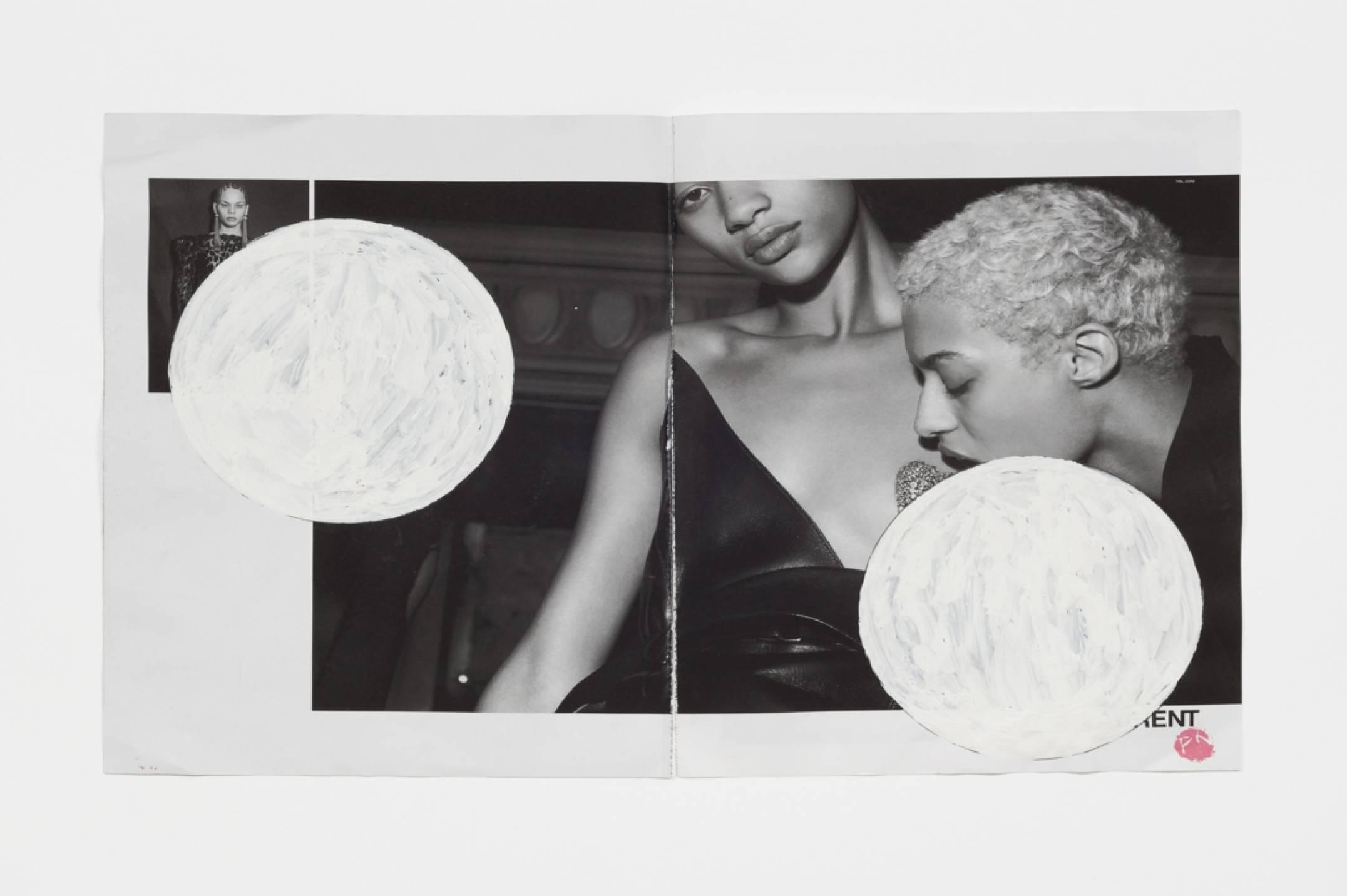 Paulo Monteiro,&nbsp;<em>ENT,</em> 2017, 'Wite.Out' (quick dry correction fluid) on magazine print, 46 × 30 cm - Mendes Wood DM