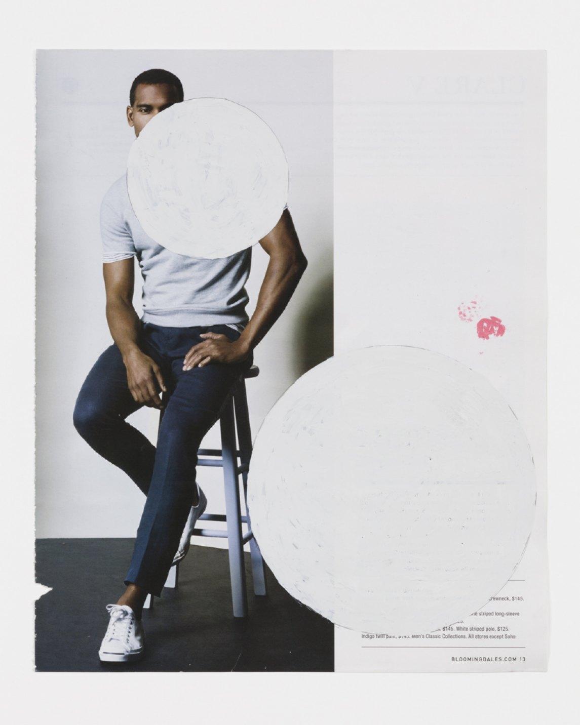 Paulo Nazareth,&nbsp;<em>WHITE STRIPED</em>, 2017, 'Wite.Out' (quick dry correction fluid) on magazine print, 24 × 29 cm - Mendes Wood DM