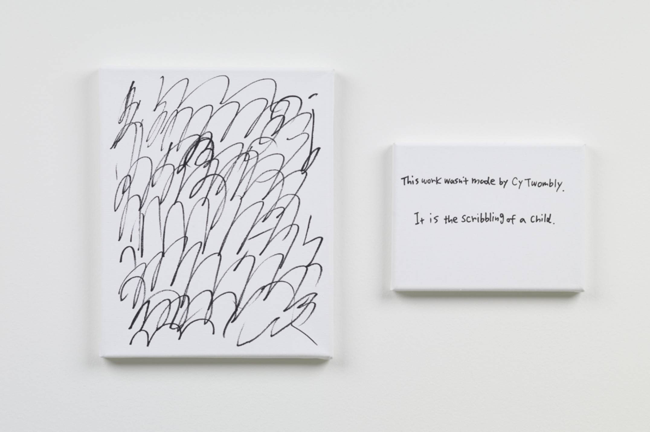 Ken Kagami, <em>This work wasn't made by Cy Twonbly,</em> 2017, marker on canvas, 27 × 22 cm /&nbsp;14 × 18 cm - Mendes Wood DM