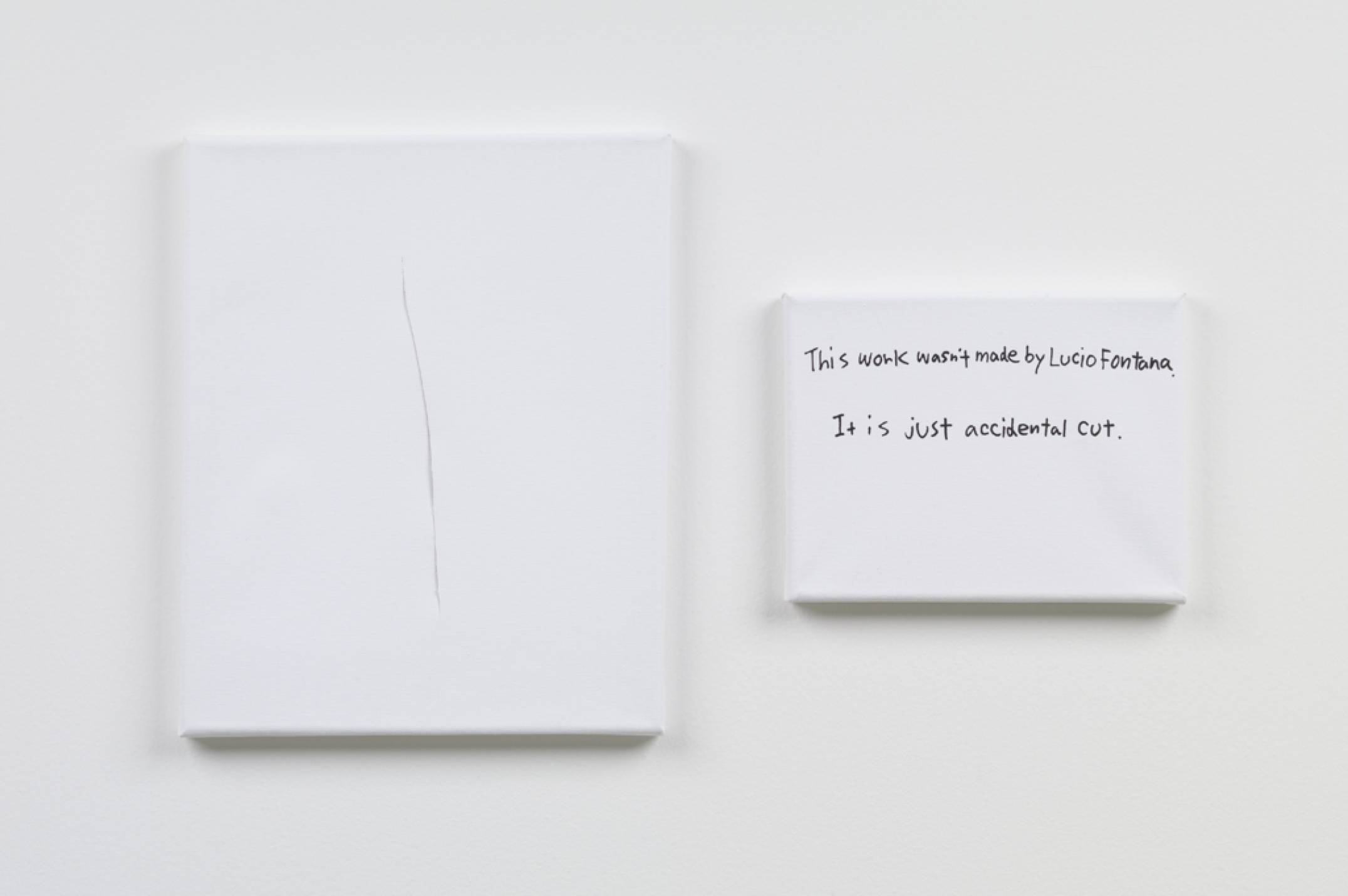 Ken Kagami,&nbsp;<em>This work wasn't made by Lucio Fontana</em>,&nbsp;2017, marker on canvas, 27 × 22 cm /&nbsp;14 × 18 cm - Mendes Wood DM