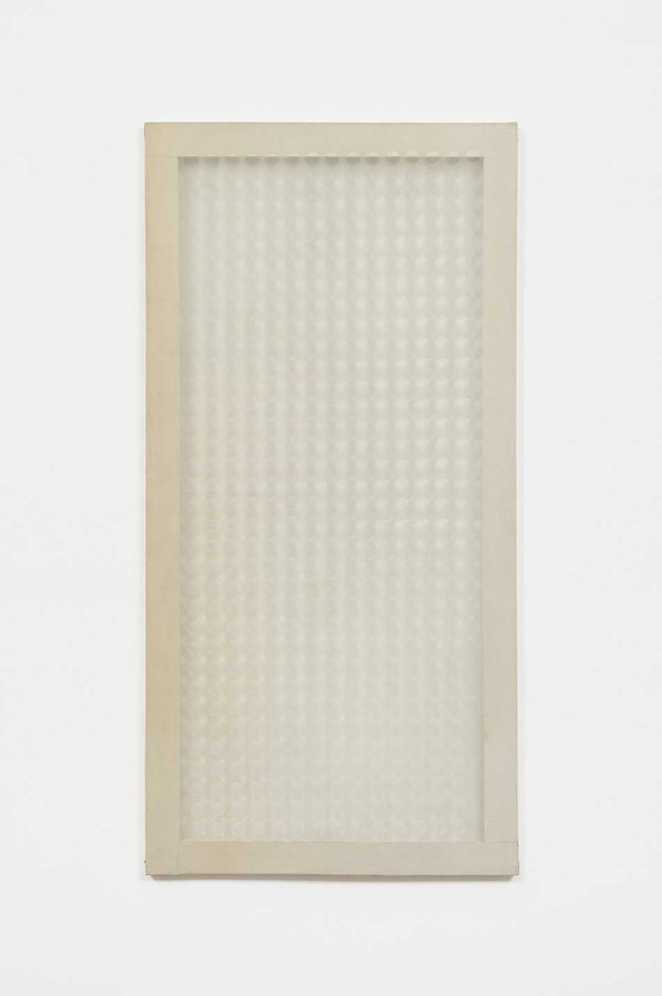 Dadamaino, <em>Volume a Moduli Sfalsati (Volumes of out of phase modules),</em> 1960, perforated plastic sheets mounted on a wood frame, 120 × 60 cm - Mendes Wood DM