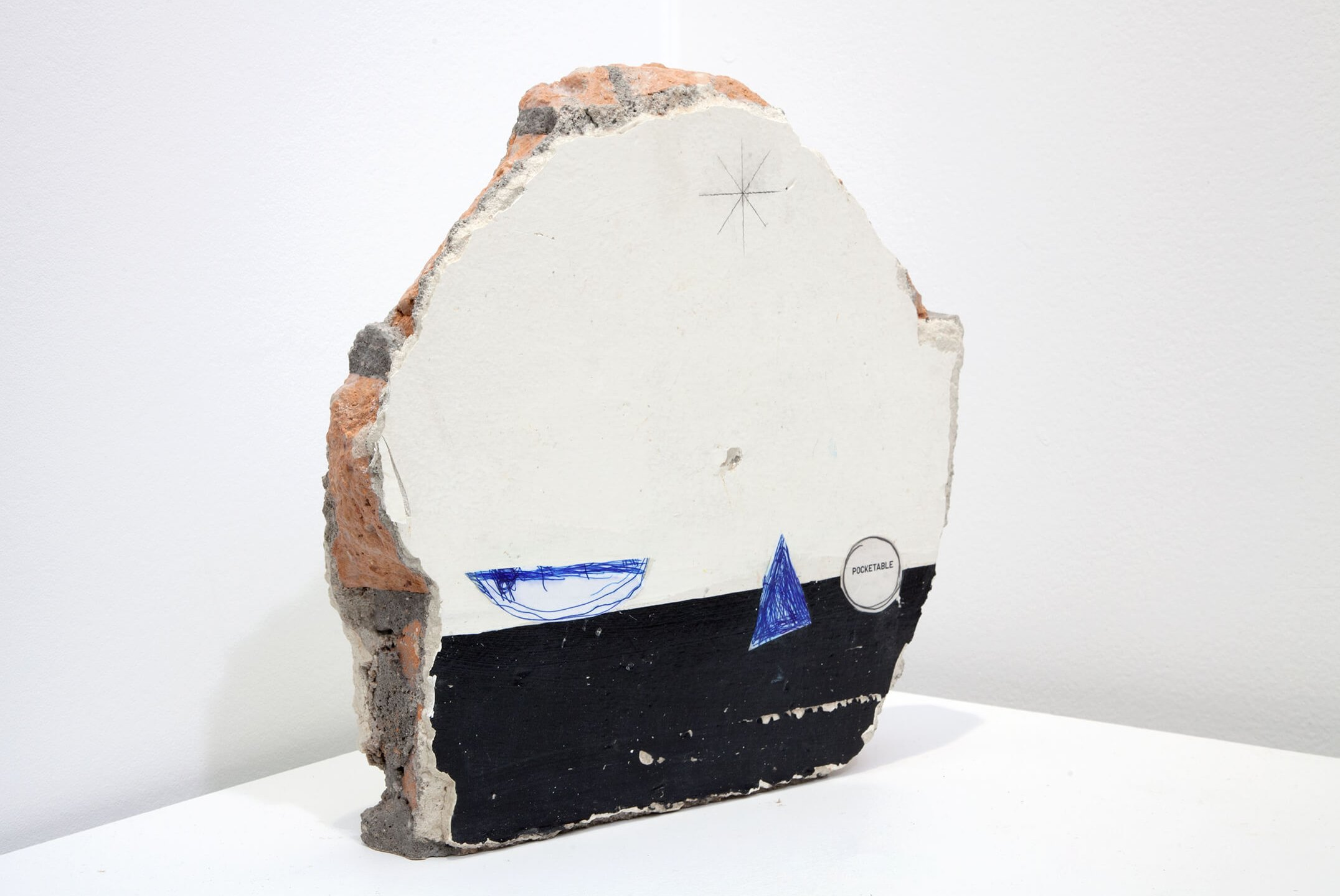 Adriano Costa, <em>Caraívas</em>, 2014, brick wall, drawing and collage, 35 × 35 × 8 cm - Mendes Wood DM