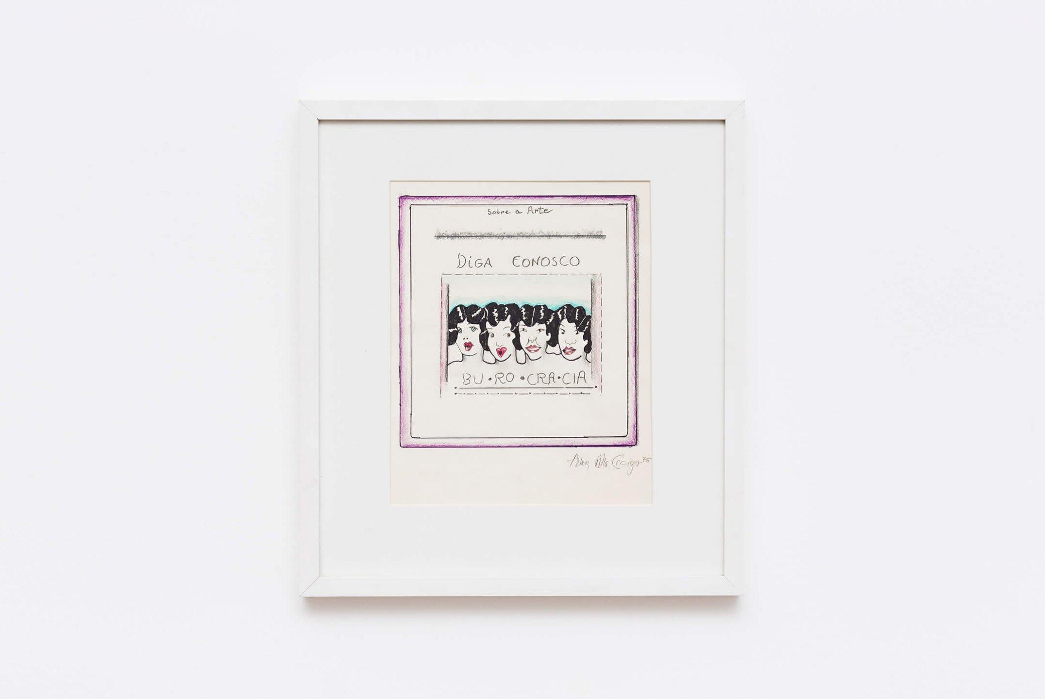 Anna Bella Geiger,<em>Burocracia</em>, 1975, nankin, watercolor and color pencil, 38 × 43 cm - Mendes Wood DM