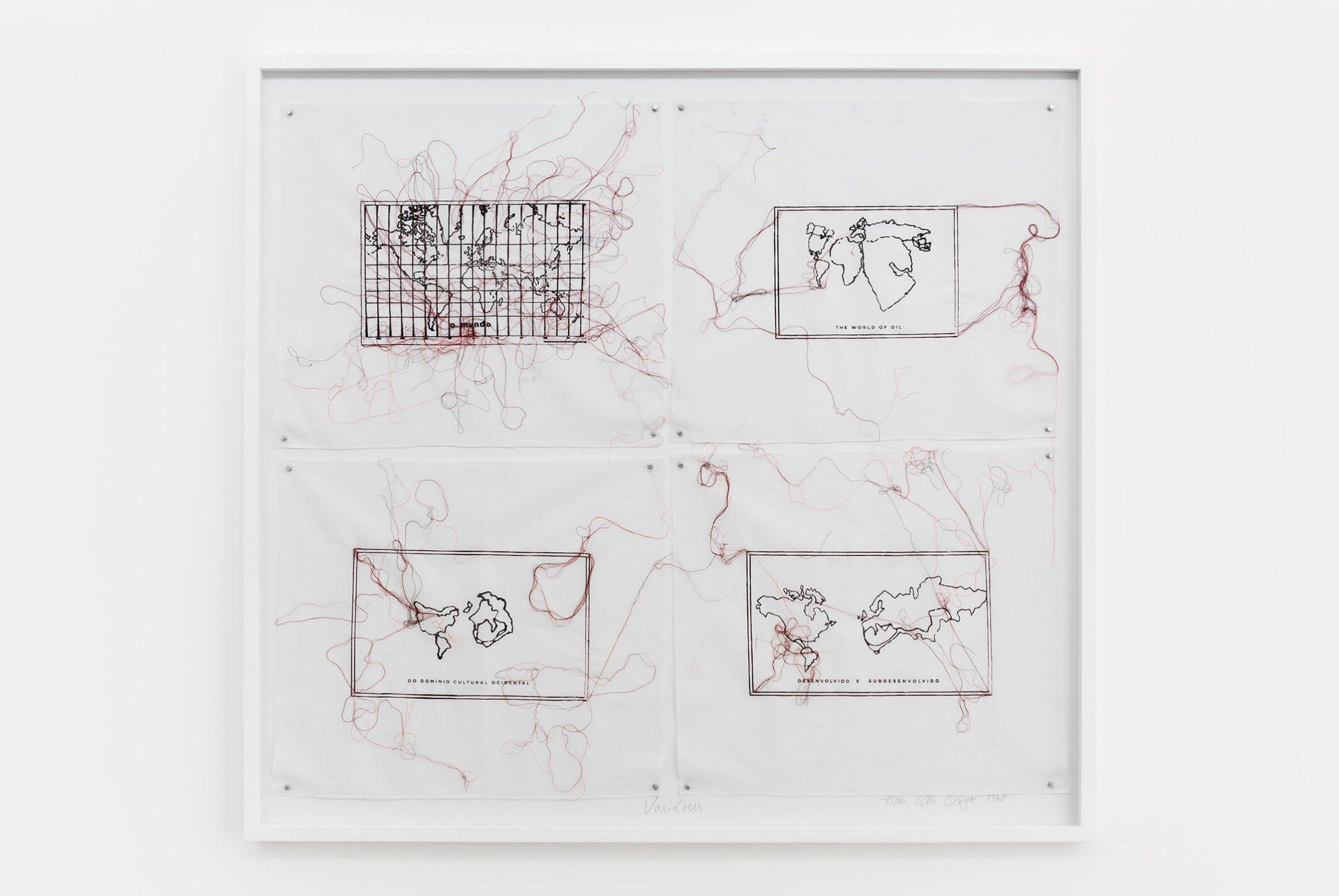 Anna Bella Geiger,<em>Variáveis</em>, 1978/2009, serigraphy and embroidery by machine on linen, 130 × 130 cm - Mendes Wood DM
