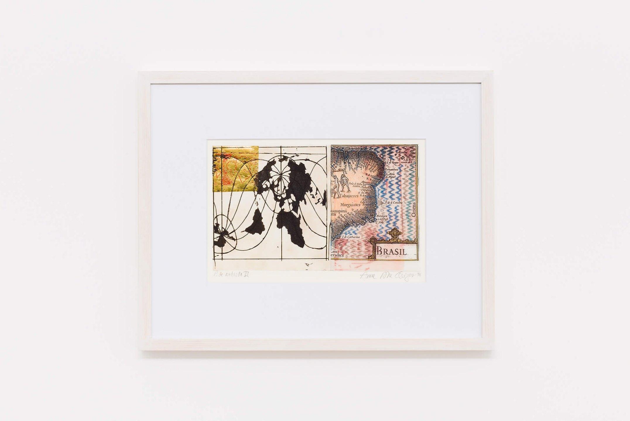 Anna Bella Geiger,&nbsp;<em>Brasil 1500-1995, from Local de ação series</em>, 1995, chalcography, serigraphy, collage and colored pencil, 37&nbsp;×&nbsp;48 cm - Mendes Wood DM