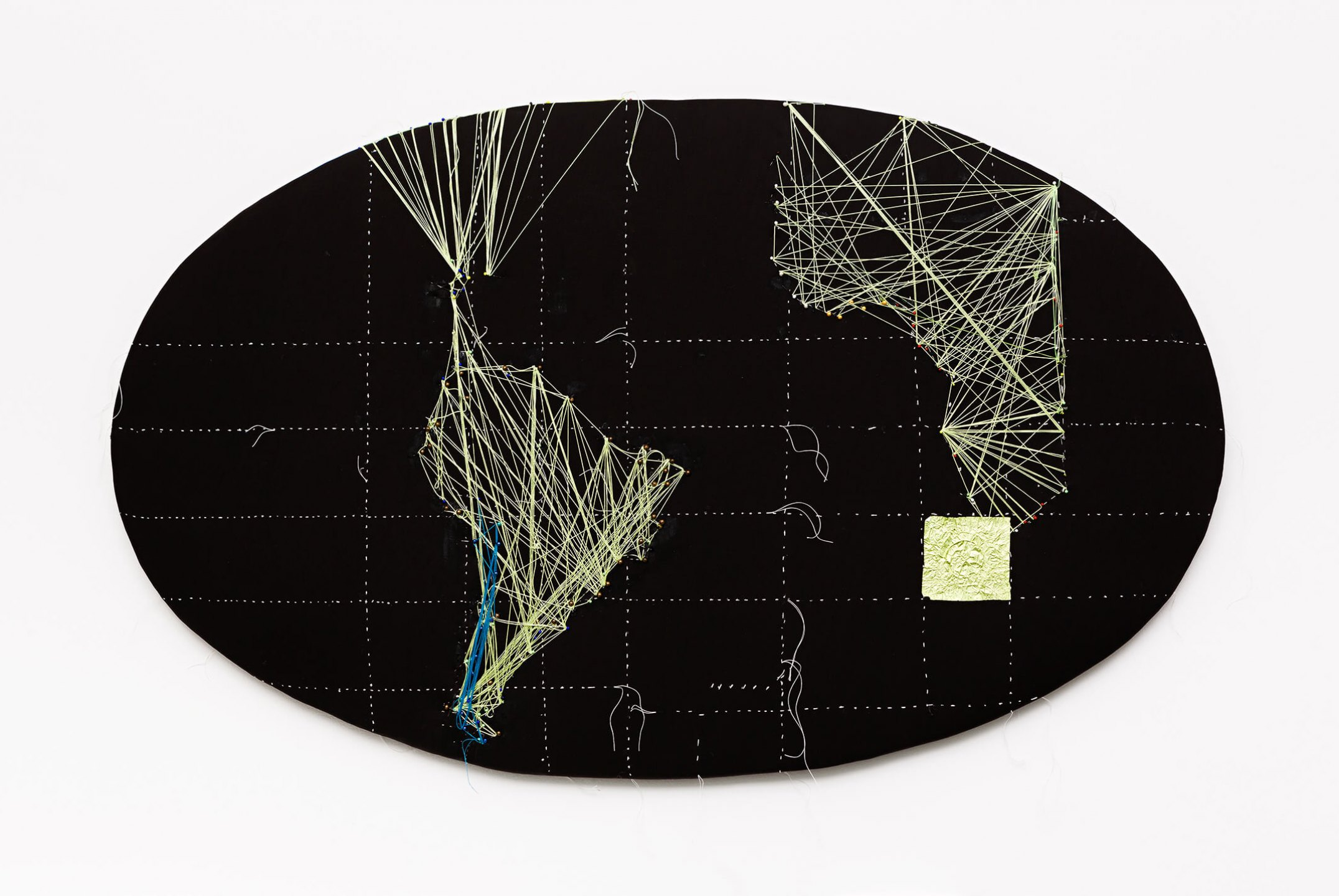 Anna Bella Geiger, <em>EW18 com mapa da Africa, from Macios series</em>, 2014, embroidery, pins, threads and collage of metal sheet on canvas, 98 × 59 cm - Mendes Wood DM
