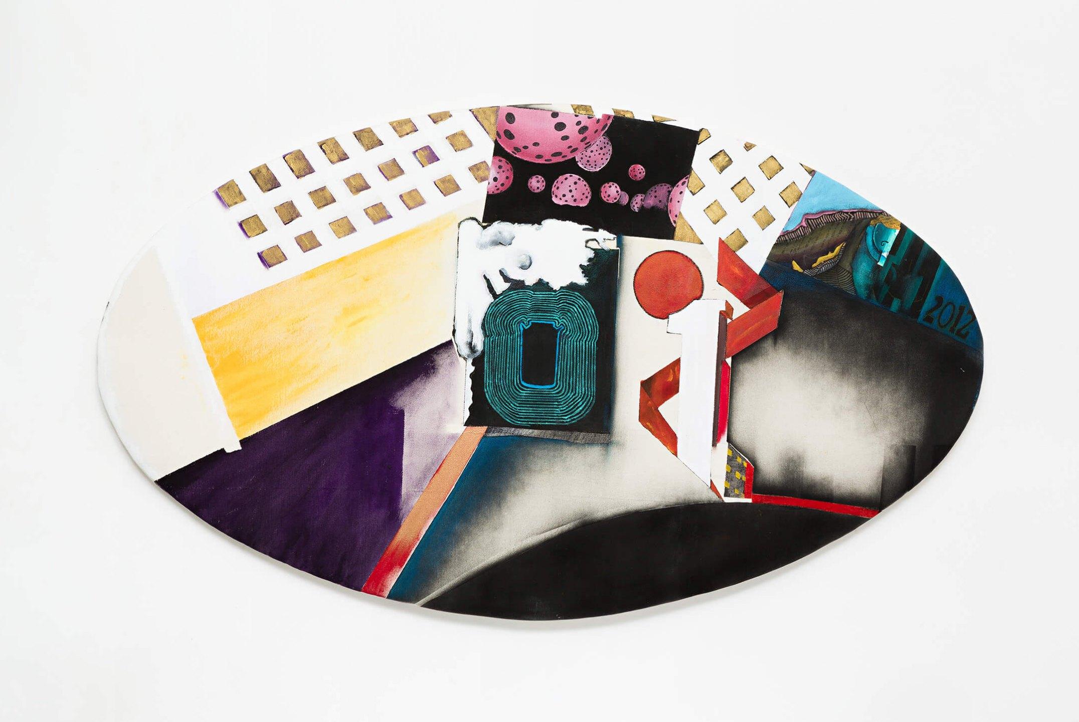 Anna Bella Geiger,<em>EW18 com bolinhas japonesas, from Macios series</em>,2012, acrylic and oil on canvas, 70×125 cm - Mendes Wood DM