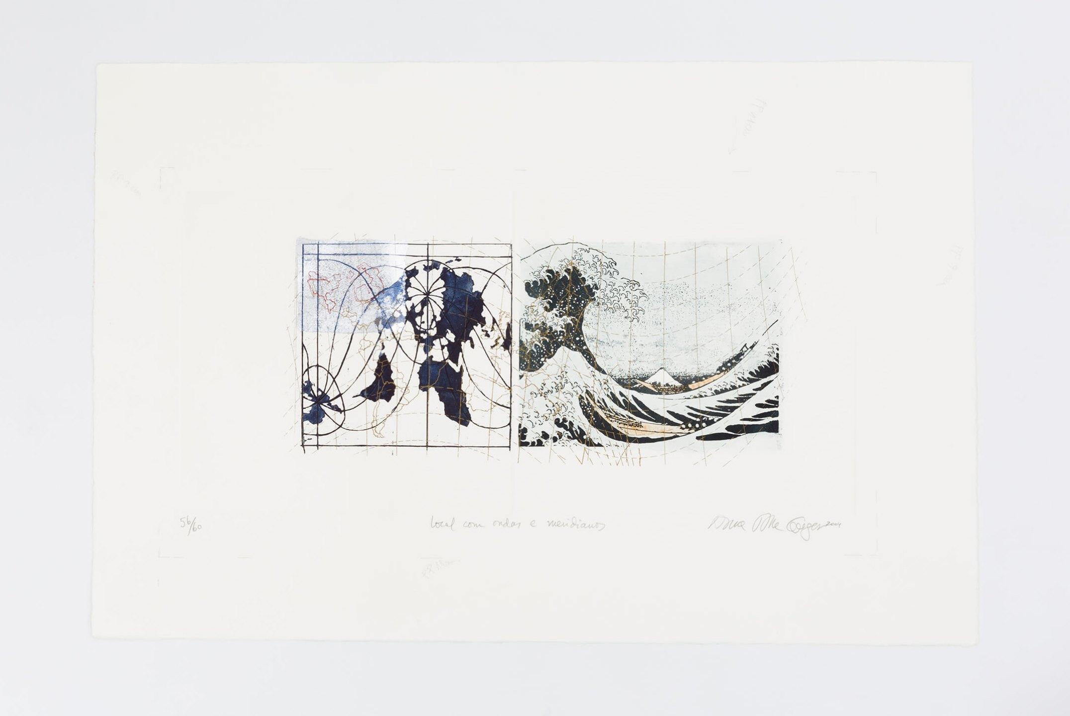 Anna Bella Geiger,&nbsp;<em>Local com ondas e meridianos, from Local de ação series</em>, 1995 – 2004, photoengraving on metal and silver sheet collage, 54 × 78 cm - Mendes Wood DM
