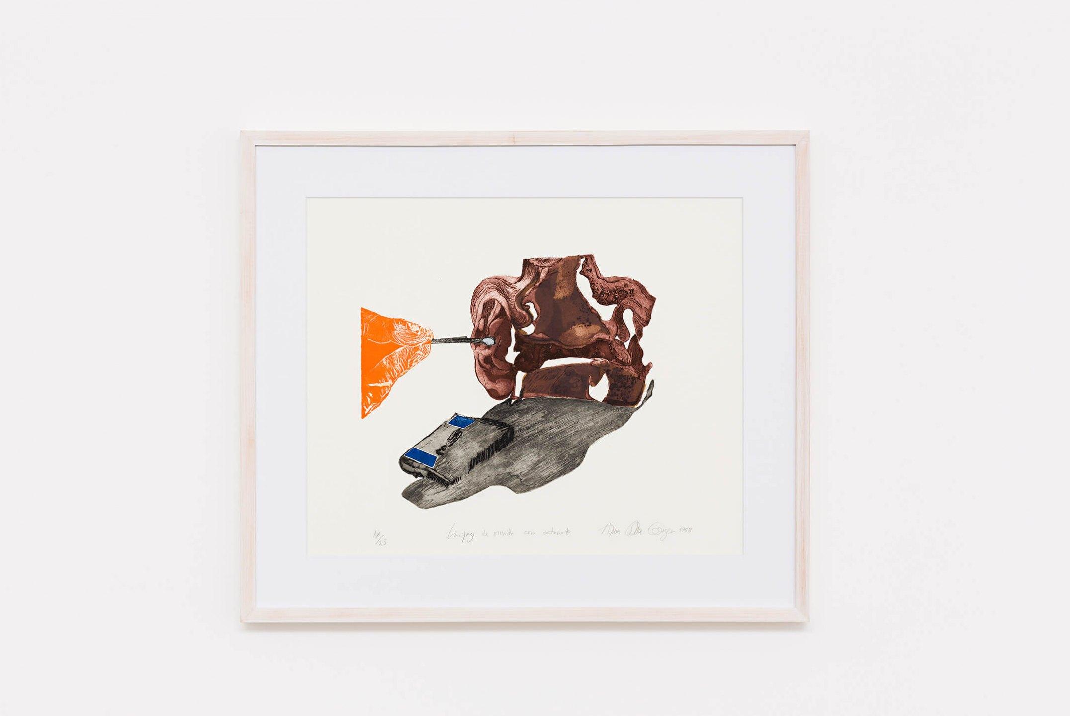 Anna Bella Geiger, <em>Limpeza do ouvido com cotonete, from Viscerais series</em>, 1968, aquatint, aquafortis and relief, 56 × 71,5 cm - Mendes Wood DM