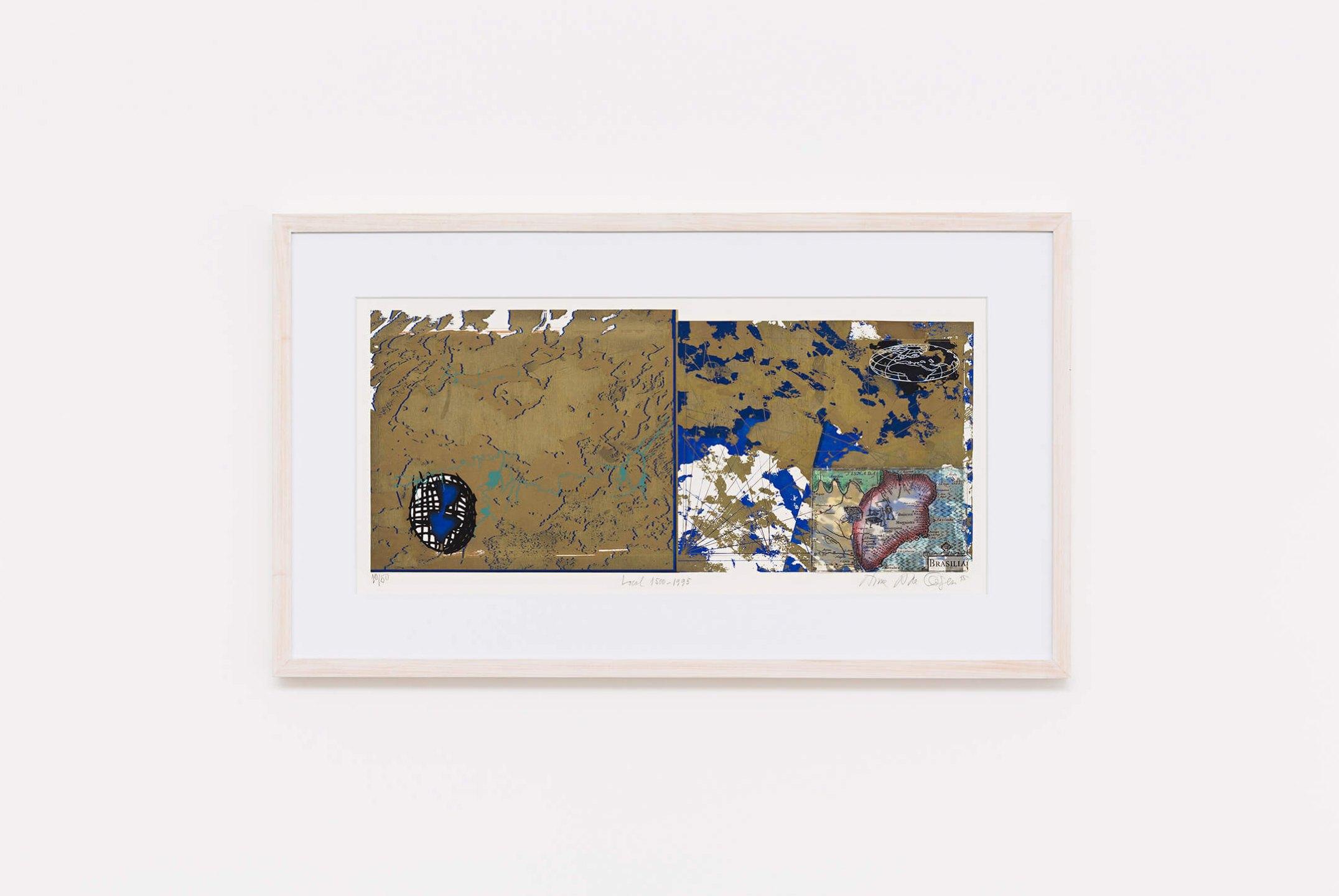 Anna Bella Geiger,<em>Local de ação 1500/1995</em>,1995, photoengraving on metal, serigraphy, collage and color pencil, 30 × 67,5 cm - Mendes Wood DM