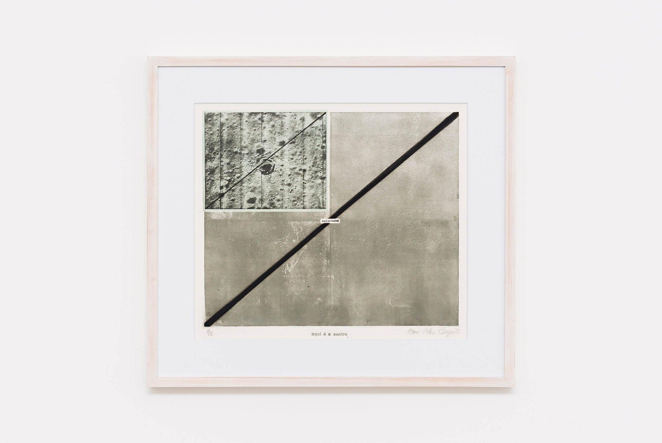Anna Bella Geiger,<em>Aqui é o centro n.1</em>,1973, photoengraving on metal, serigraphy and cliché, 50×50 cm - Mendes Wood DM