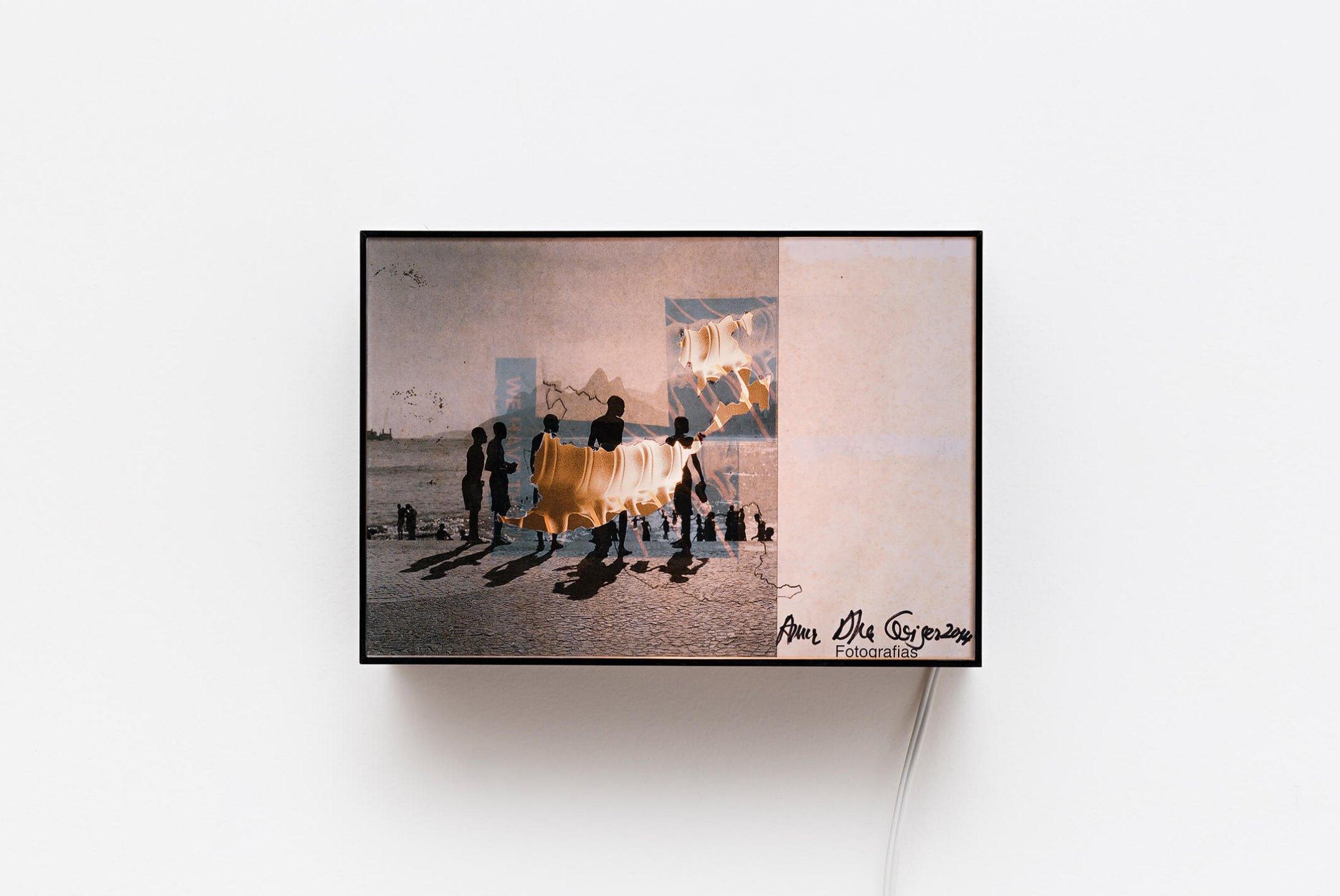 Anna Bella Geiger,<em>Praia de Ipanema com coluna vertebral, from Transferrs series</em>, 2014, collage and backlight, 18,5 × 26,5 × 10 cm - Mendes Wood DM