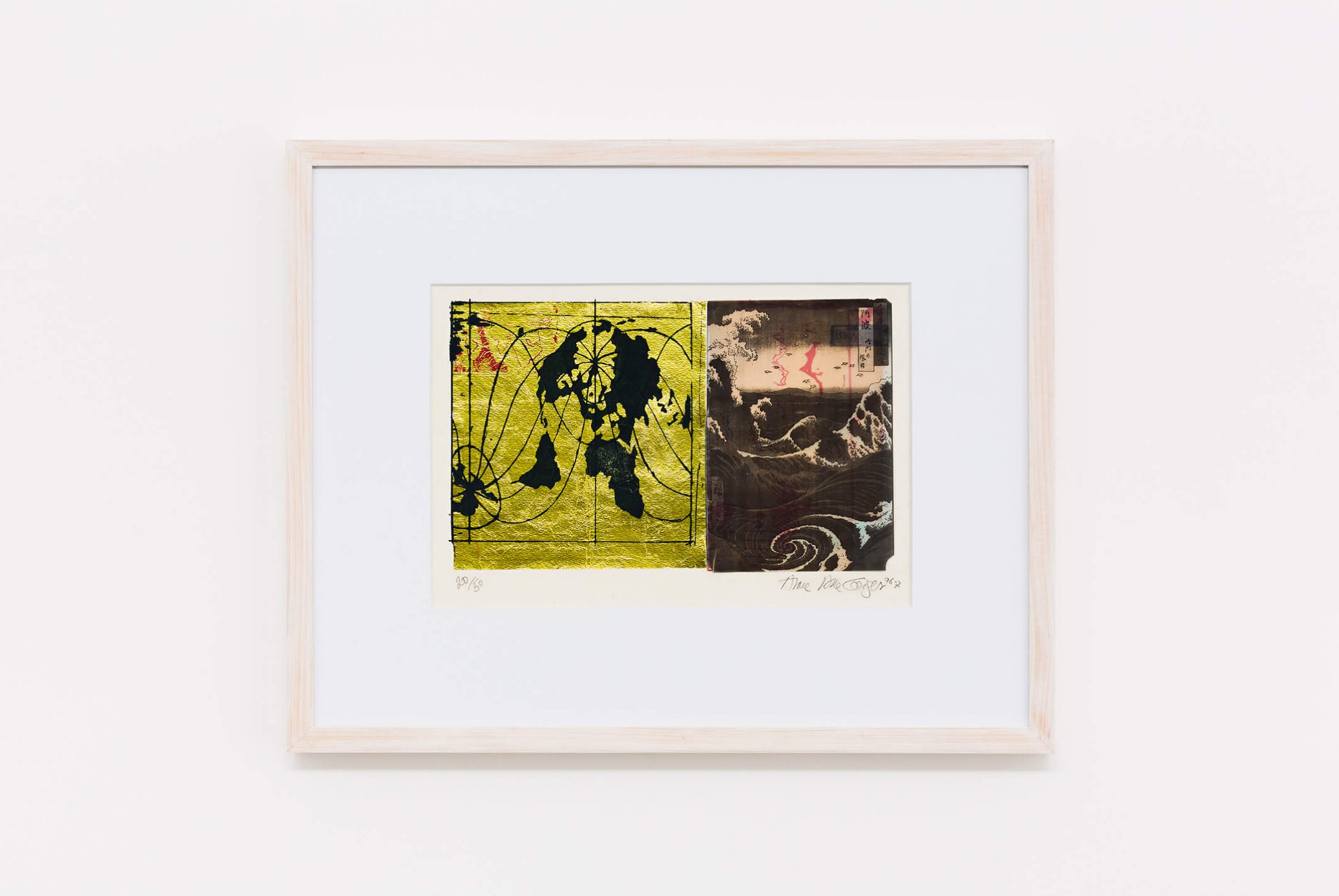 Anna Bella Geiger,<em>... com Hiroshigue para os mares e águas, from Local da ação series</em>,1996, photoengraving on metal and collage, 25×36 cm - Mendes Wood DM